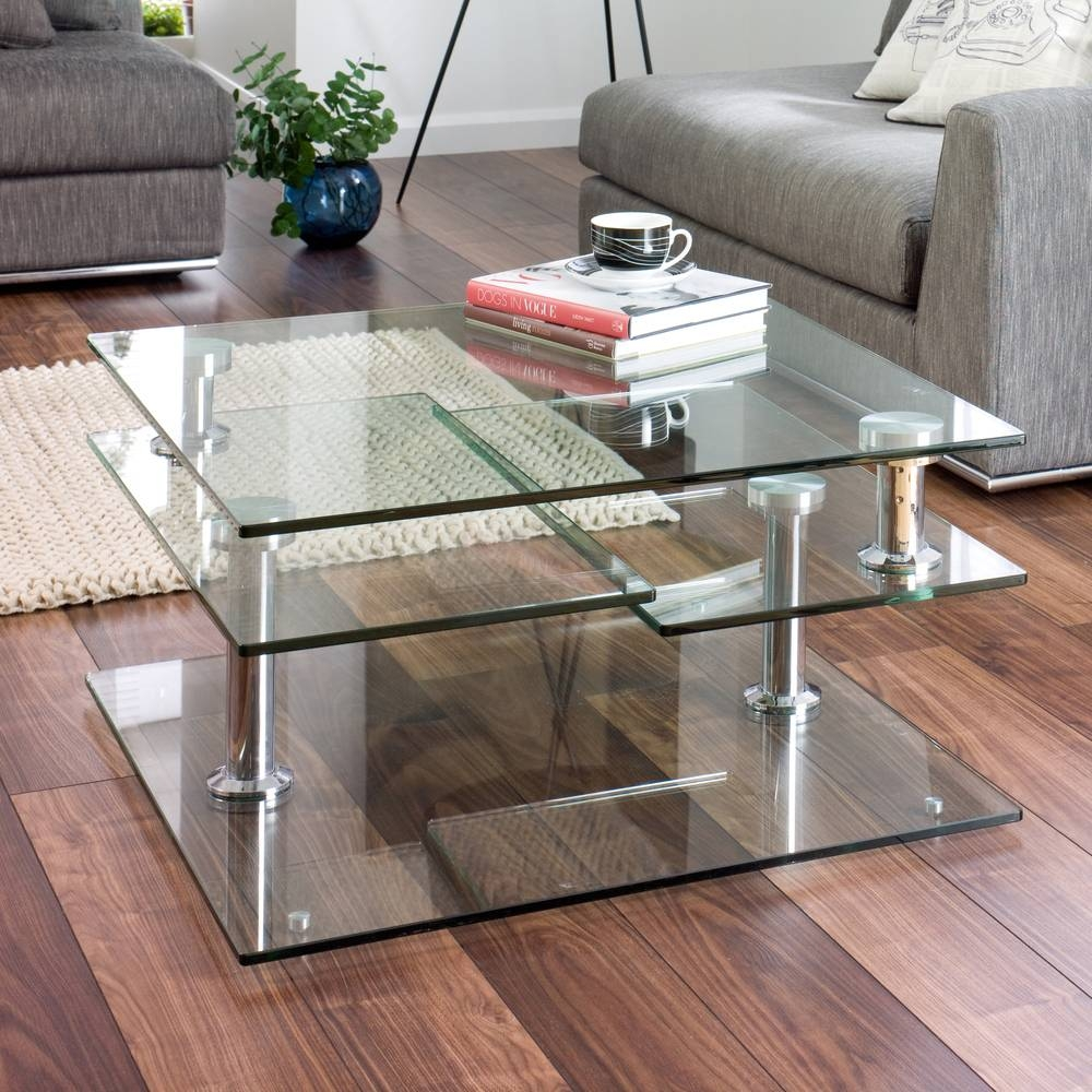 Jacque Extending Glass Coffee Table Clear – Dwell Throughout Chrome Glass Coffee Tables (View 19 of 30)