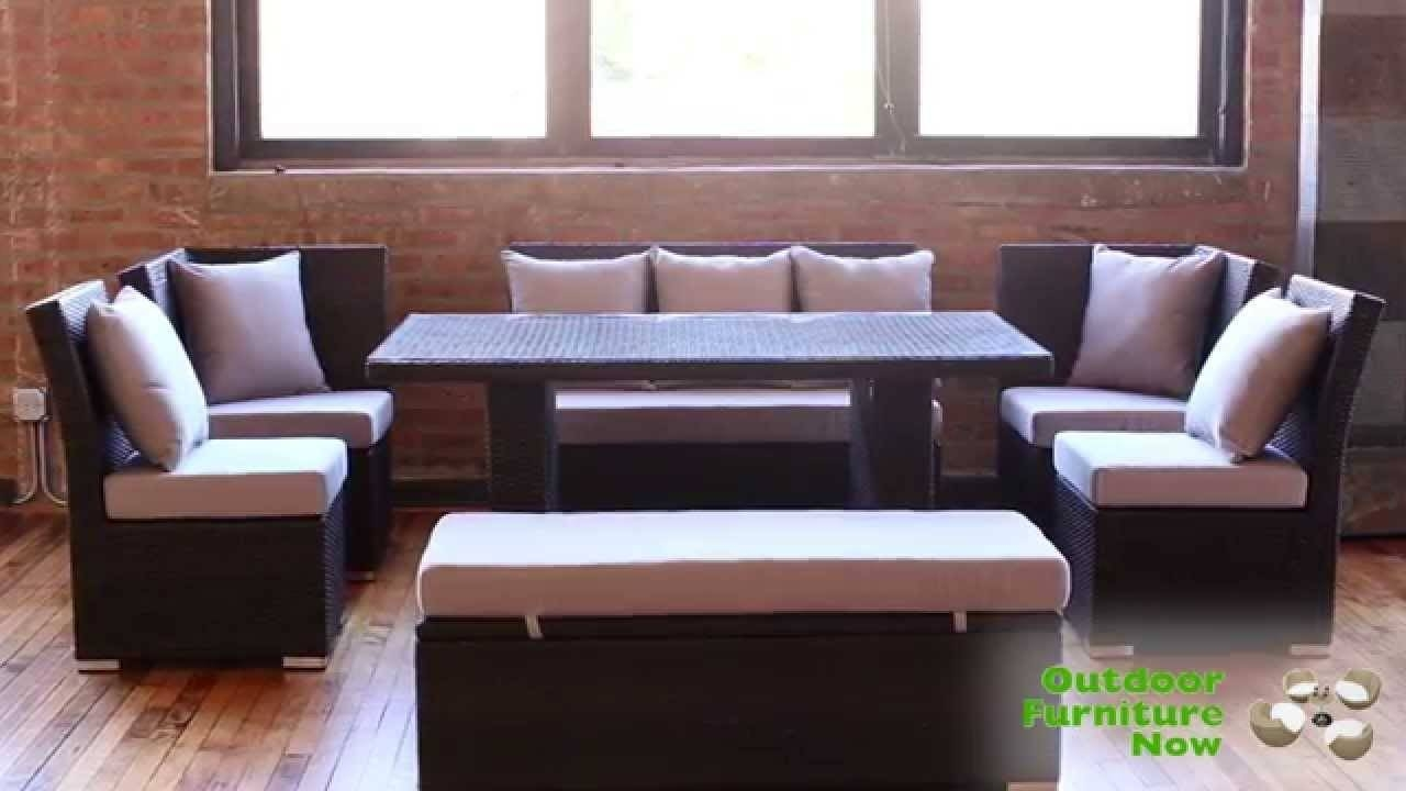 Jamaican Multipurpose Sectional Dining And Sofa Set | Wicker Patio intended for Patio Sofa Tables (Image 14 of 30)