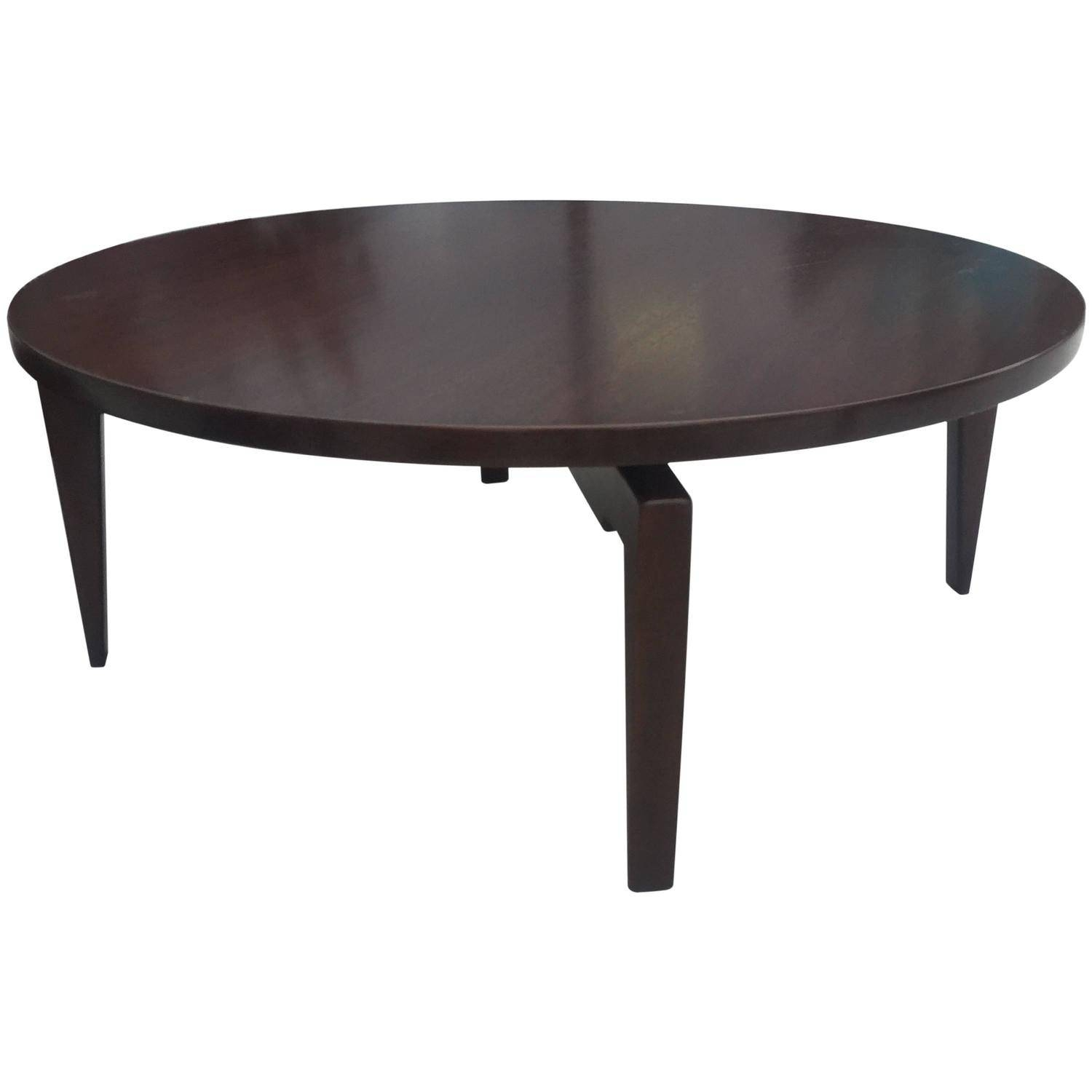 Jens Risom Round Walnut Coffee Table With Lazy Susan Top At 1Stdibs with regard to Oval Walnut Coffee Tables (Image 14 of 30)