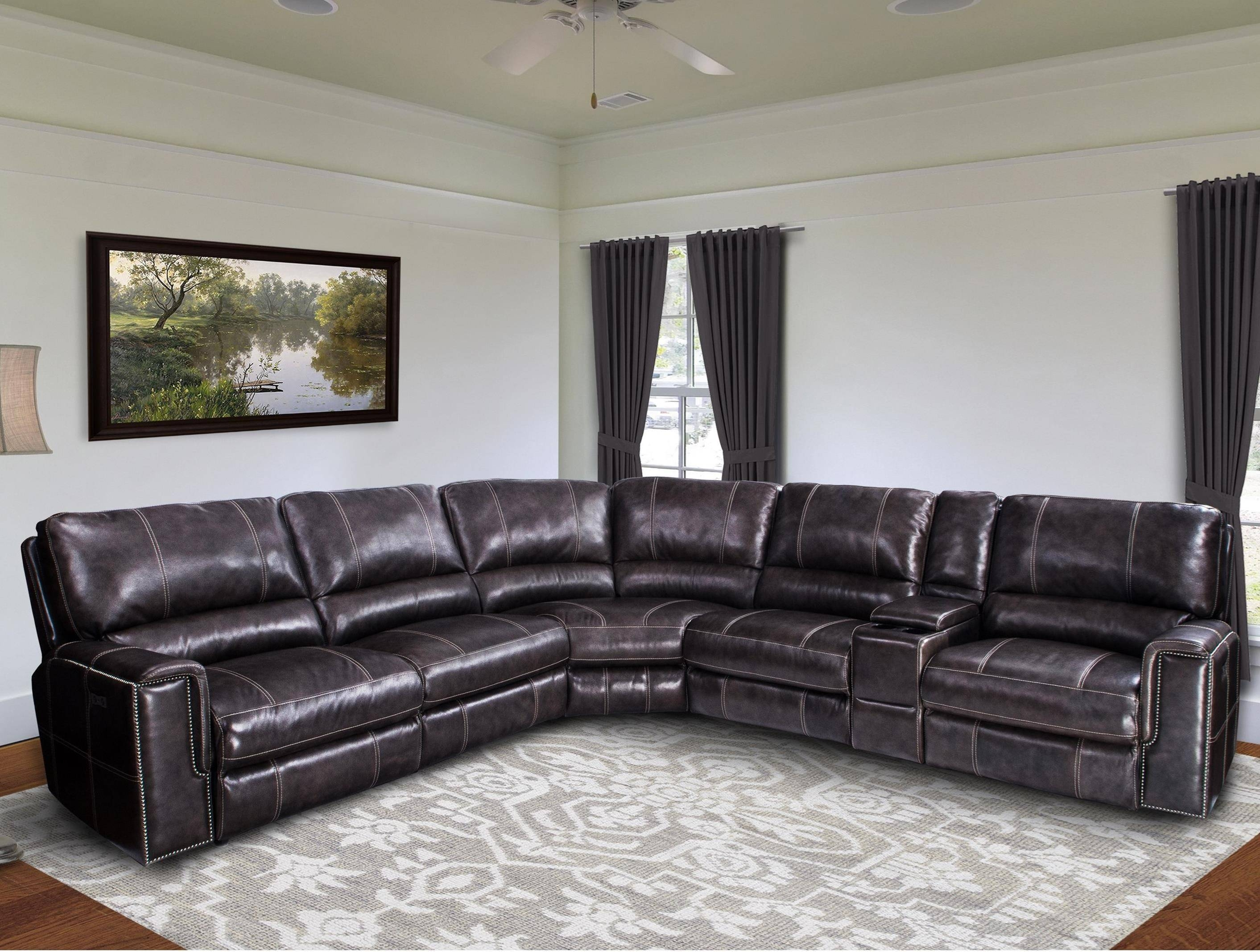 Jerome Casual Power Reclining Sectional Sofa With Power Headrests for Recliner Sectional Sofas (Image 21 of 30)