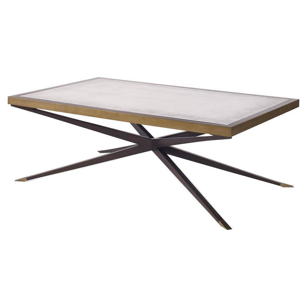 Jet Modern Cross Pin Brass Antique Mirror Coffee Table | Kathy Kuo inside Vintage Mirror Coffee Tables (Image 13 of 30)