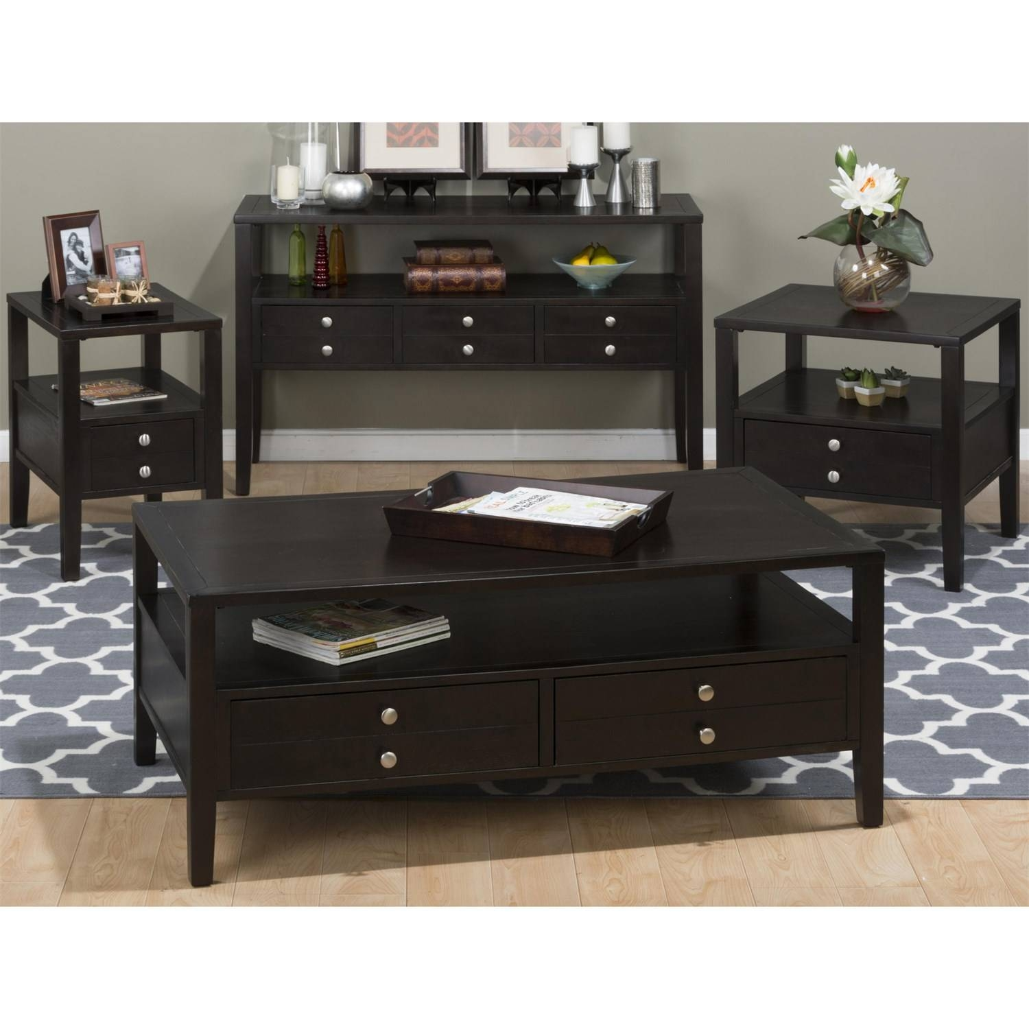Jofran 975-1 Hamilton Cocktail Table With 2 Pull Through Drawers with Espresso Coffee Tables (Image 18 of 30)
