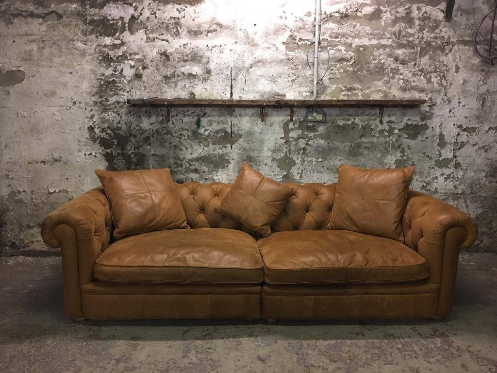 John Lewis Aniline Leather Oversized Tan Chesterfield Sofa | In with Aniline Leather Sofas (Image 23 of 30)