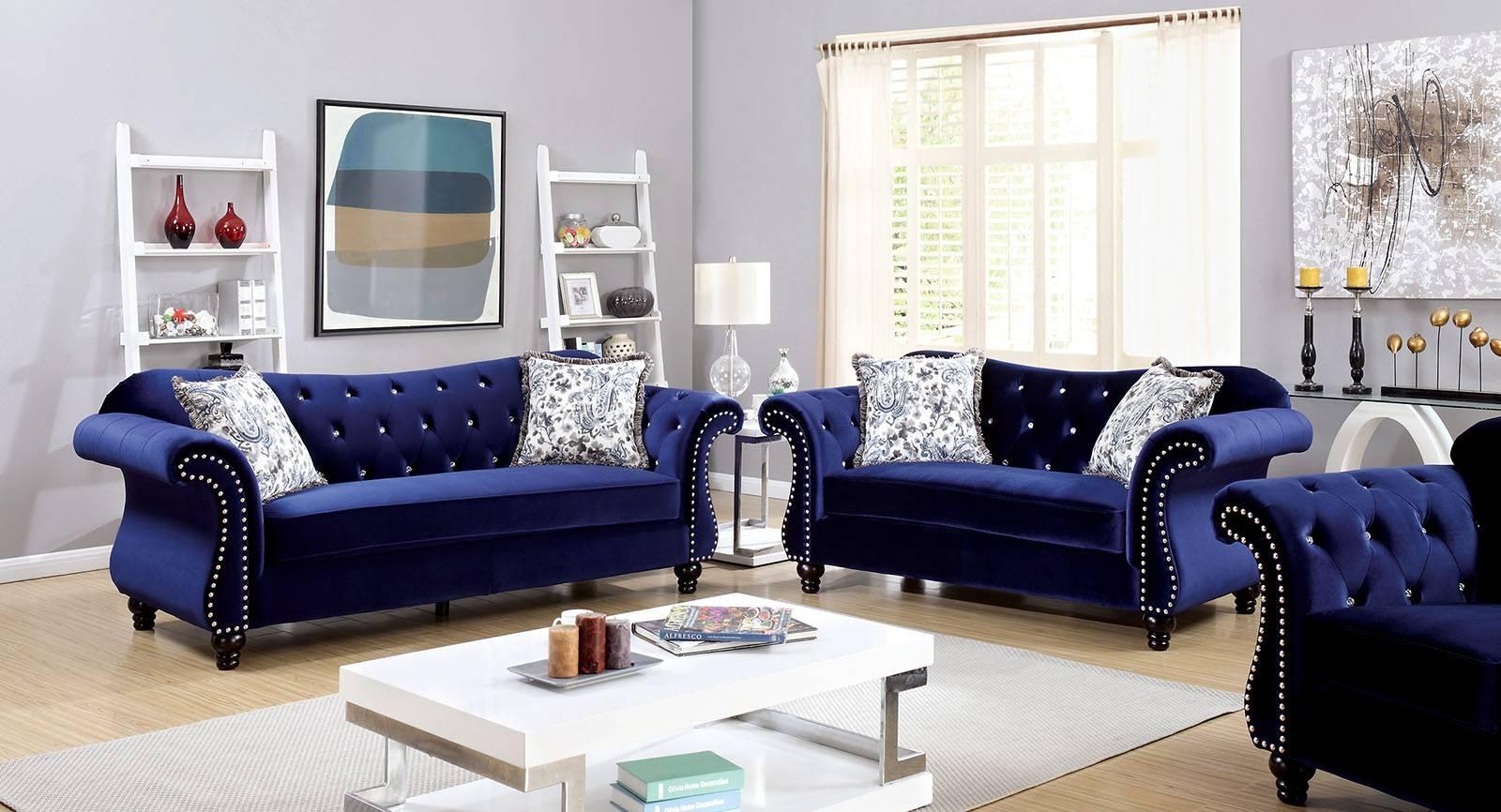 Jolanda Collection Blue Flannelette Button Tufted & Nailhead Trim for Blue Tufted Sofas (Image 18 of 30)