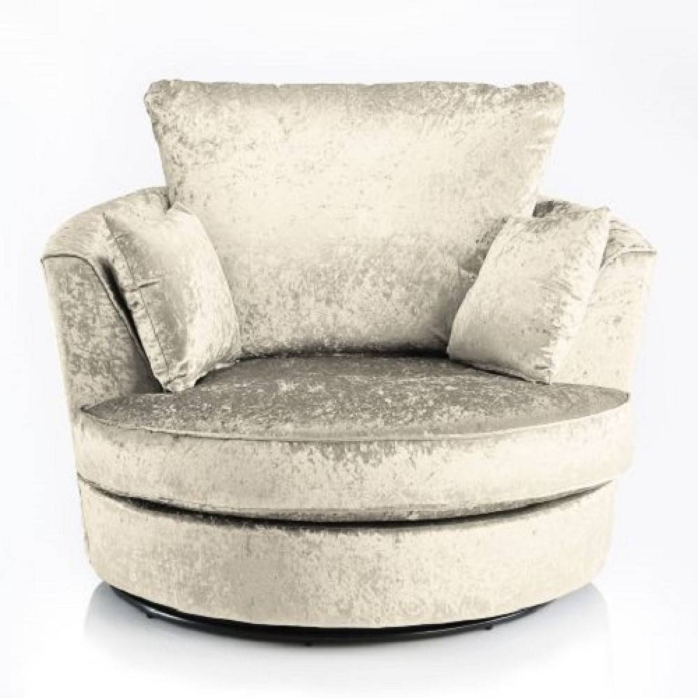Joy Swivel Cuddle Chair Cream Fabric Crushed Velvet – 2 & 3 Seater With Regard To 3 Seater Sofa And Cuddle Chairs (View 7 of 30)