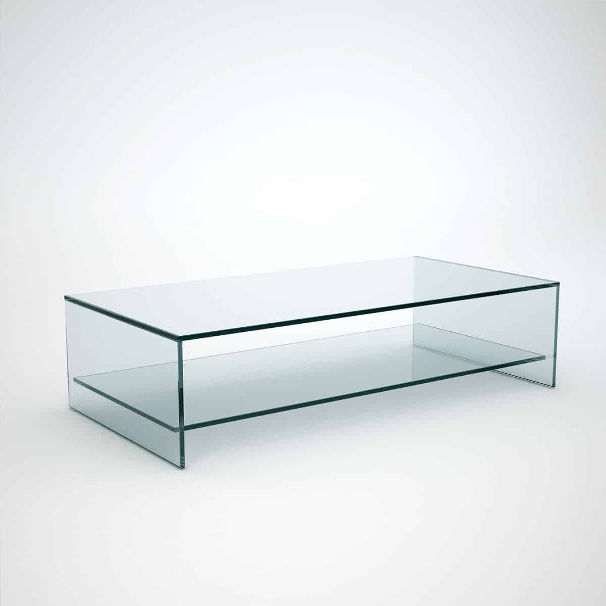 Judd - Rectangle Glass Coffee Table With Shelf - Klarity - Glass for Glass Coffee Tables With Shelf (Image 21 of 30)