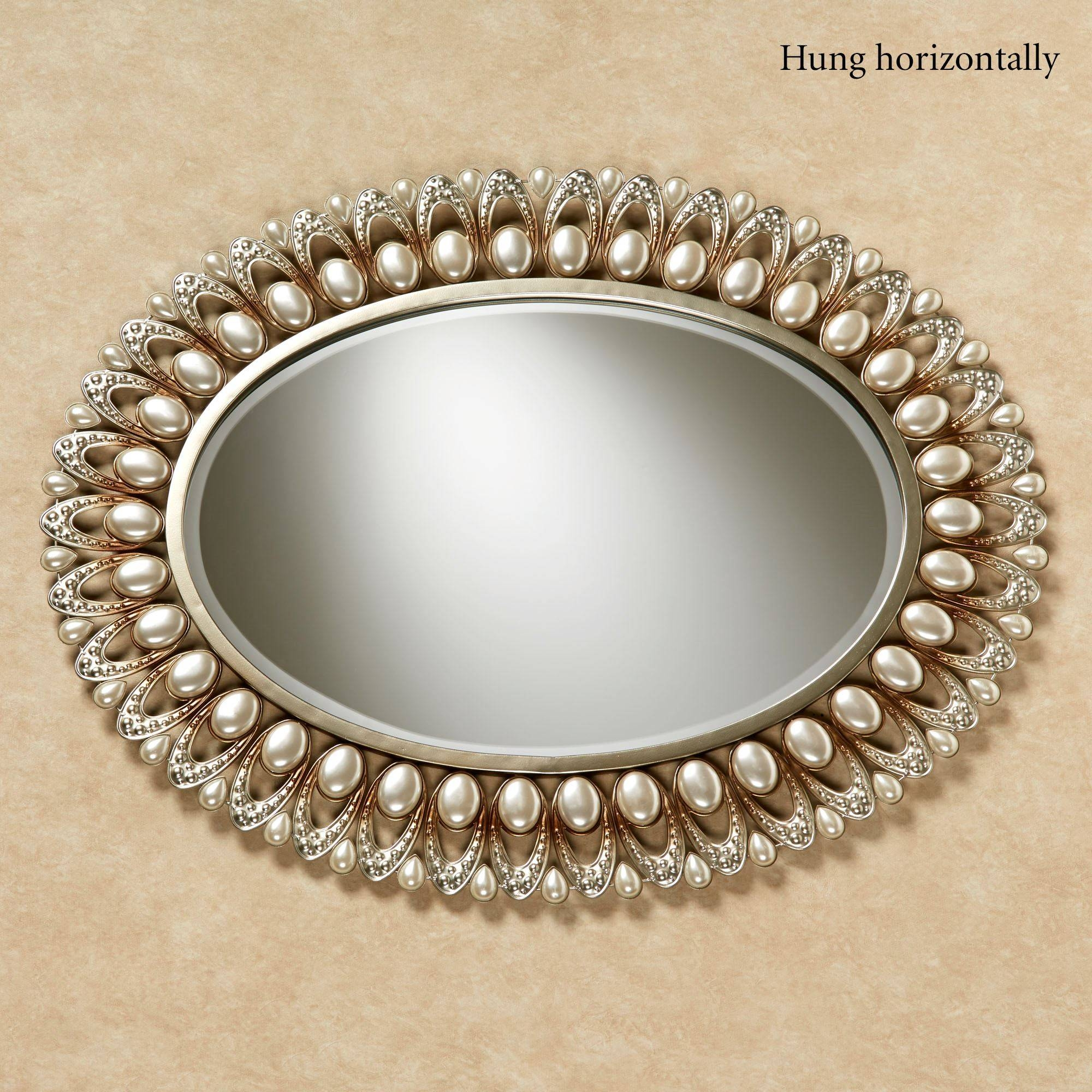 Julietta Pearl Oval Wall Mirror pertaining to Champagne Wall Mirrors (Image 13 of 25)