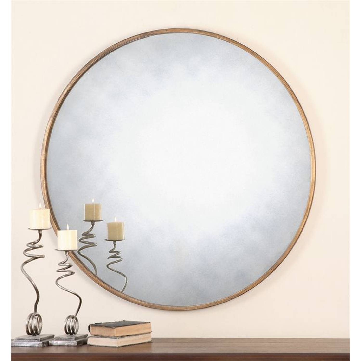 Junius Round Gold Round Mirror Uttermost Wall Mirror Mirrors Home for Gold Round Mirrors (Image 12 of 25)
