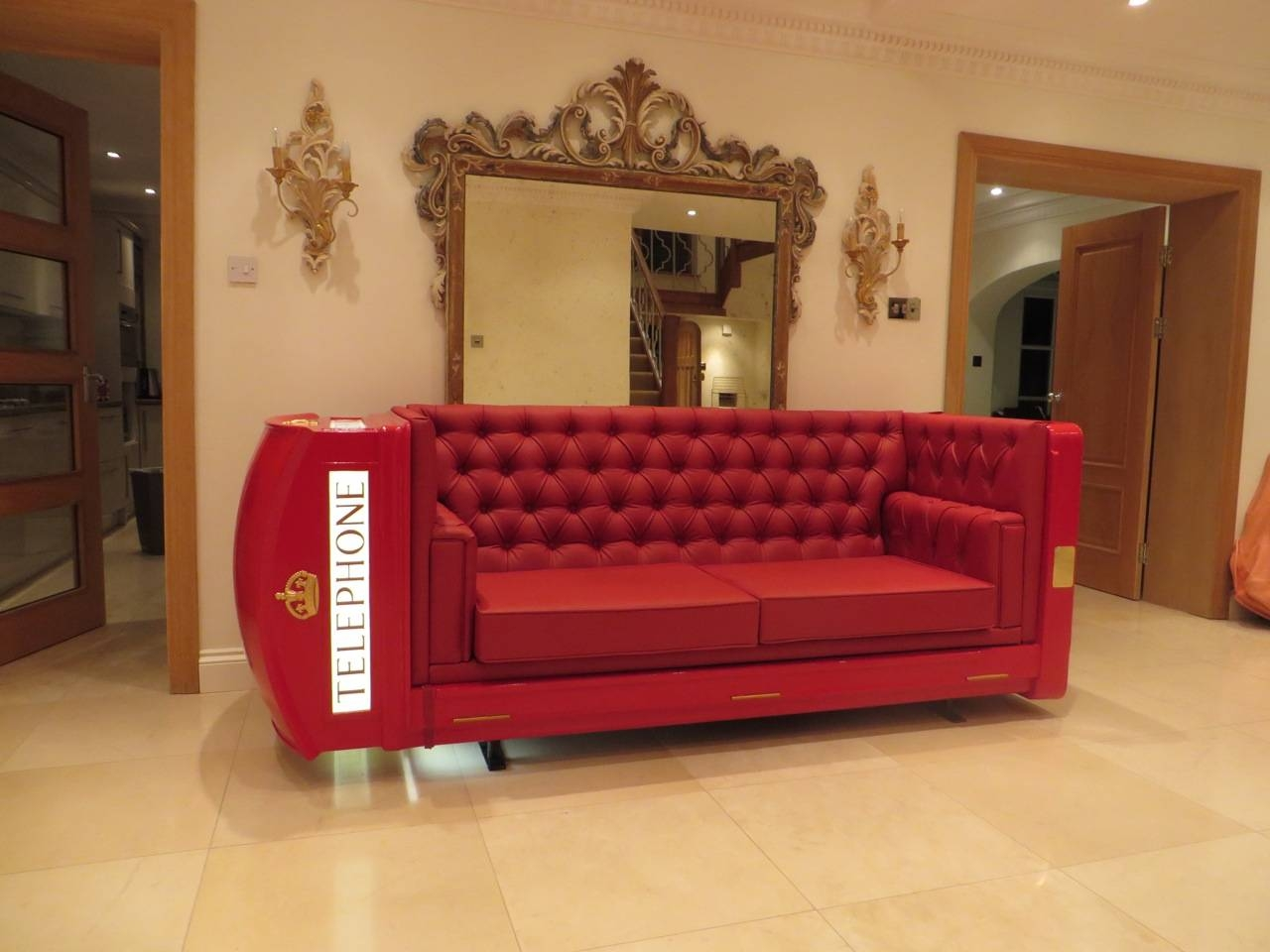K6 Red Telephone Box Booth Kiosk Sofa / Lounger X Factor 2014 throughout Telephone Box Wardrobes (Image 7 of 15)