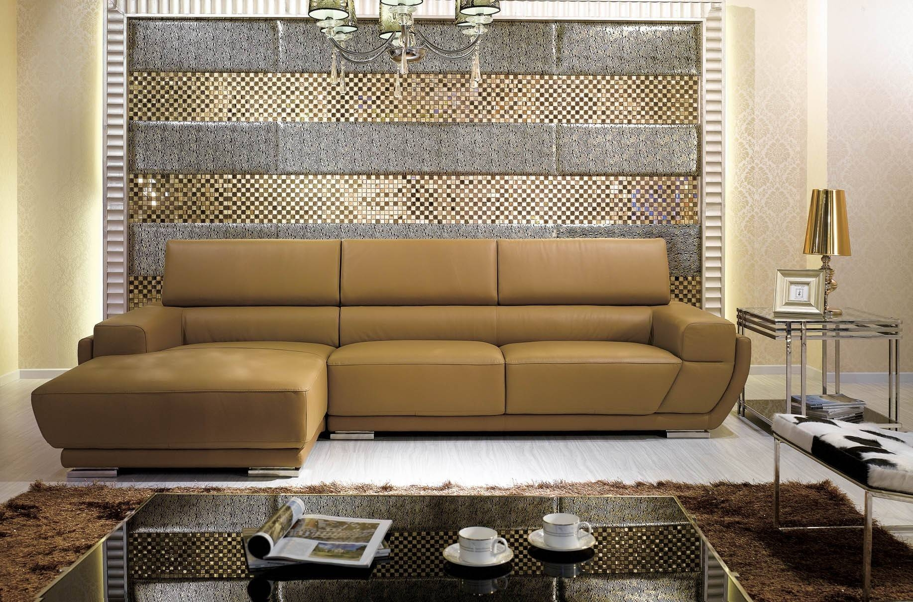 K8300 Modern Camel Italian Leather Sectional Sofa for Camel Colored Sectional Sofa (Image 23 of 30)