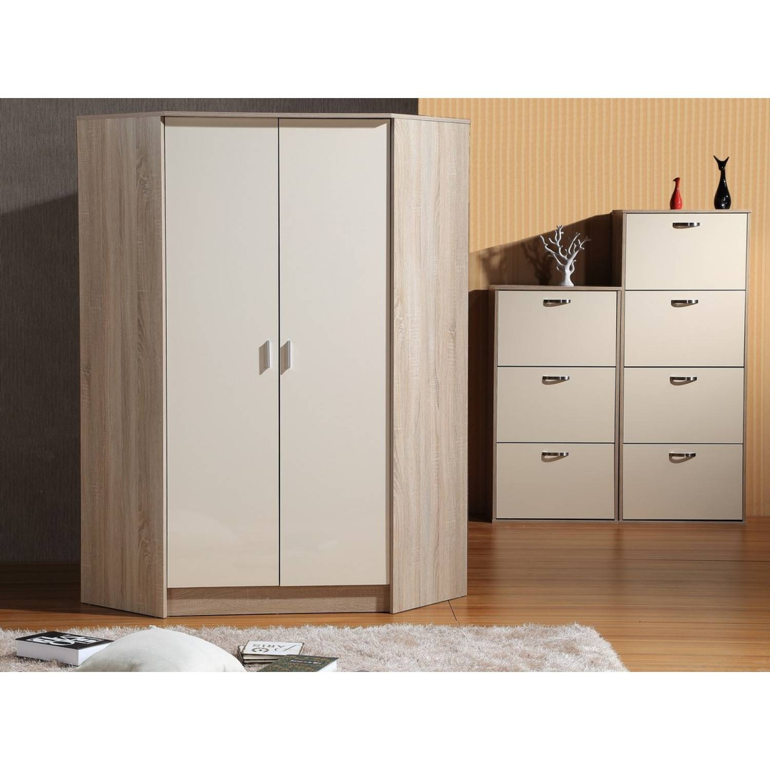 Kale High Gloss Two Door Corner Wardrobe In Cream On Oak for Cream Gloss Wardrobes (Image 10 of 15)