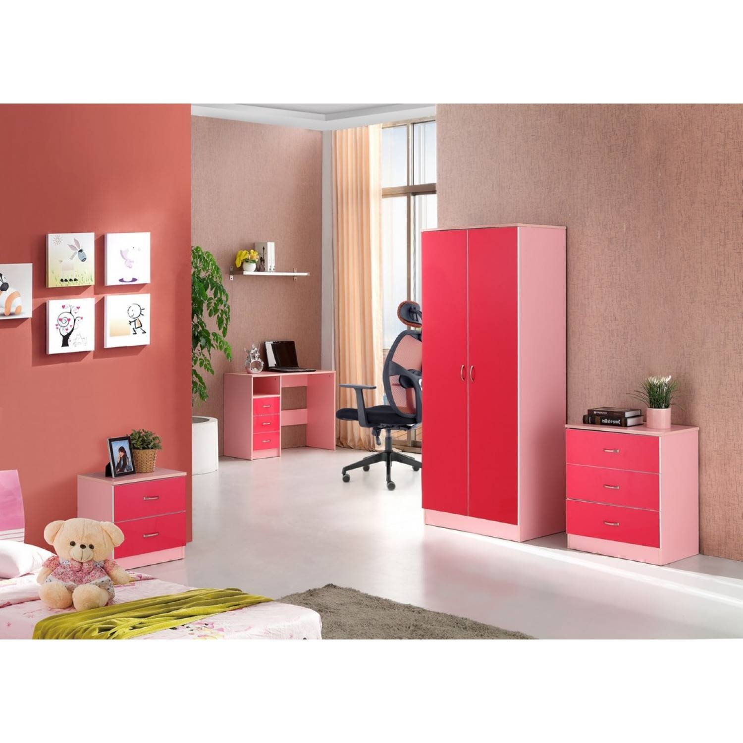 Kale High Gloss Two Door Wardrobe In Pink On Pink throughout Pink High Gloss Wardrobes (Image 8 of 15)