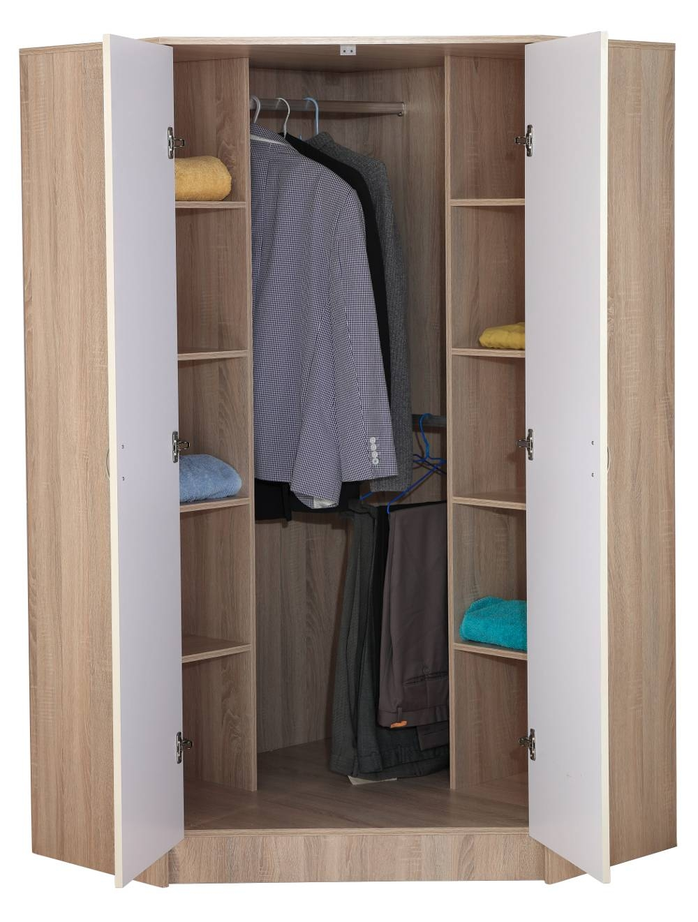 Kanya 2 Door Corner Wardrobe - Sen Furniture for 1 Door Corner Wardrobes (Image 8 of 15)
