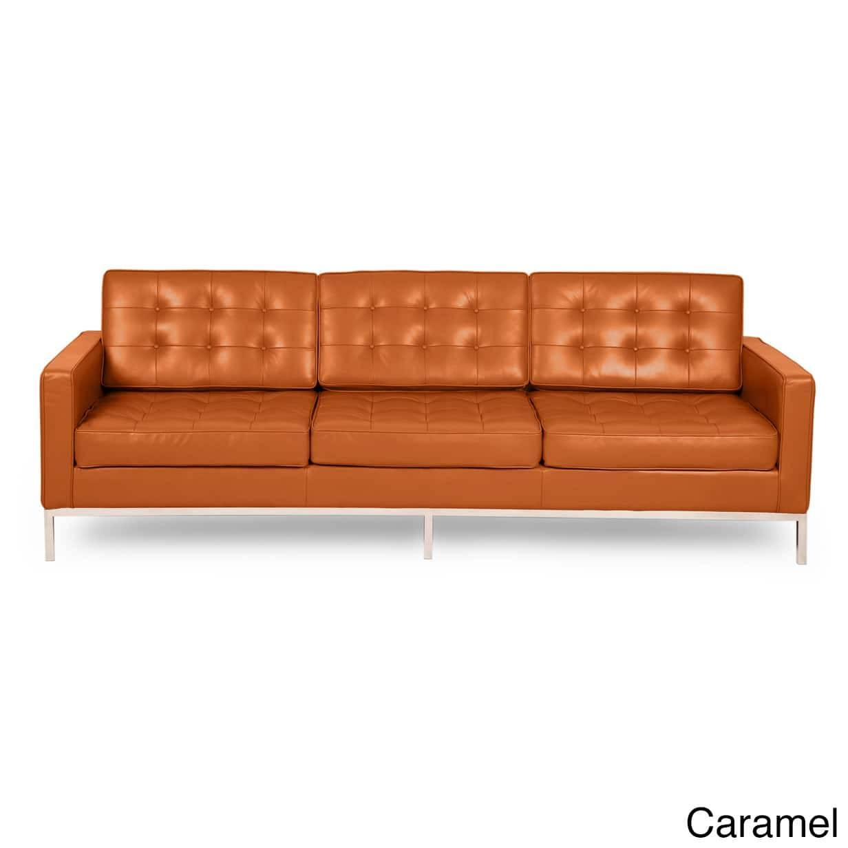 Kardiel Florence Knoll Style Sofa 3 Seat, Aniline Premium Leather throughout Florence Knoll Style Sofas (Image 20 of 25)