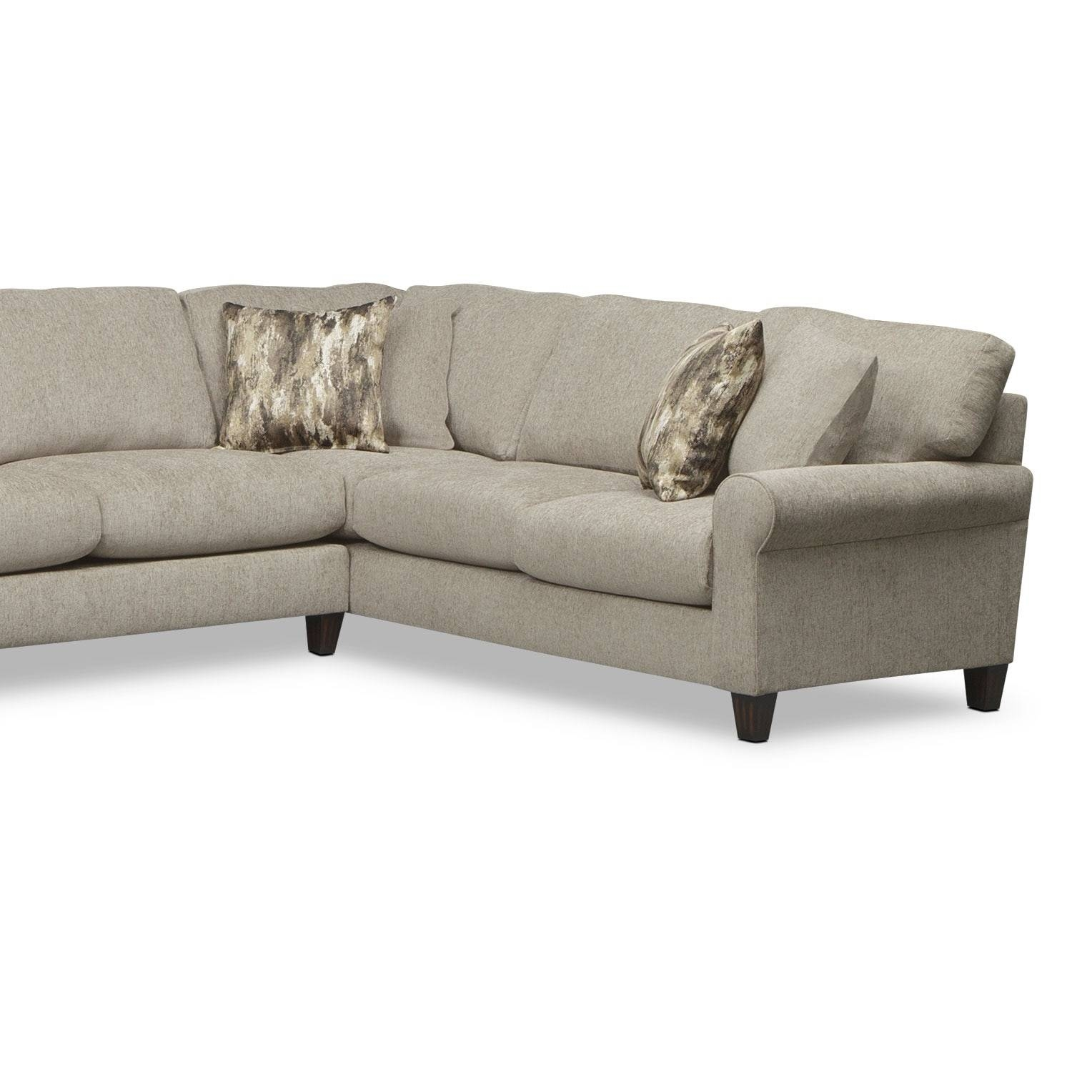 Karma 3-Piece Sectional With Left-Facing Cuddler - Mink | Value for Cuddler Sectional Sofa (Image 14 of 30)