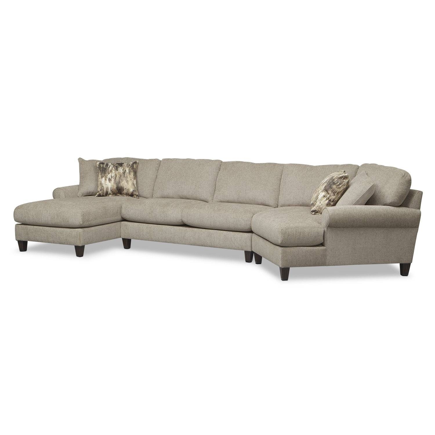 Karma 3-Piece Sectional With Right-Facing Cuddler And Left-Facing throughout Sectional Sofa With Cuddler Chaise (Image 12 of 25)