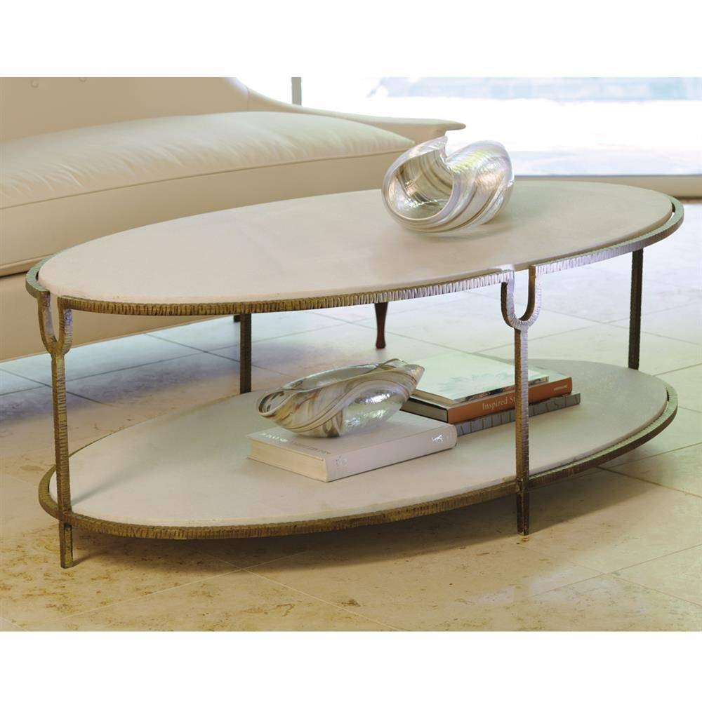 Katherine Hollywood Regency Ivory Stone Oval Coffee Table | Kathy within Marble and Metal Coffee Tables (Image 17 of 30)