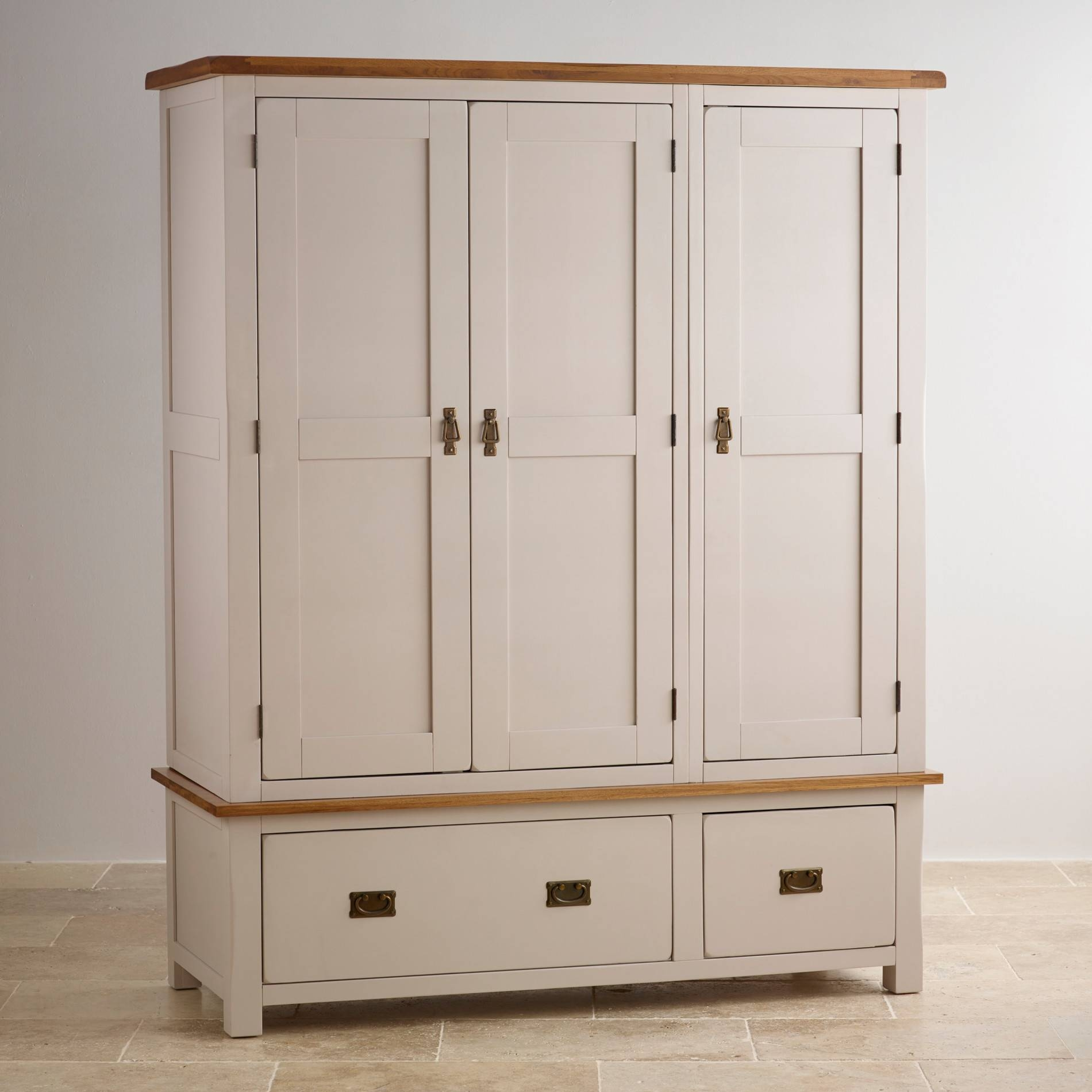 Kemble Triple Wardrobe In Painted Oak | Oak Furniture Land regarding Cream Triple Wardrobes (Image 8 of 15)