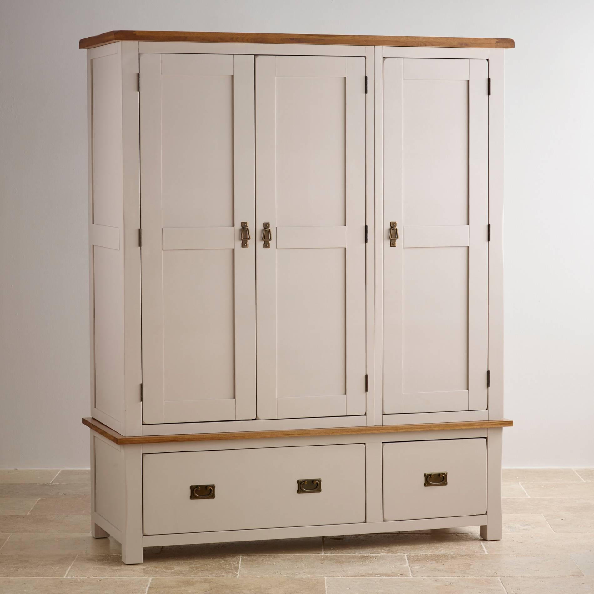 Kemble Triple Wardrobe In Painted Oak | Oak Furniture Land regarding Painted Triple Wardrobes (Image 9 of 15)