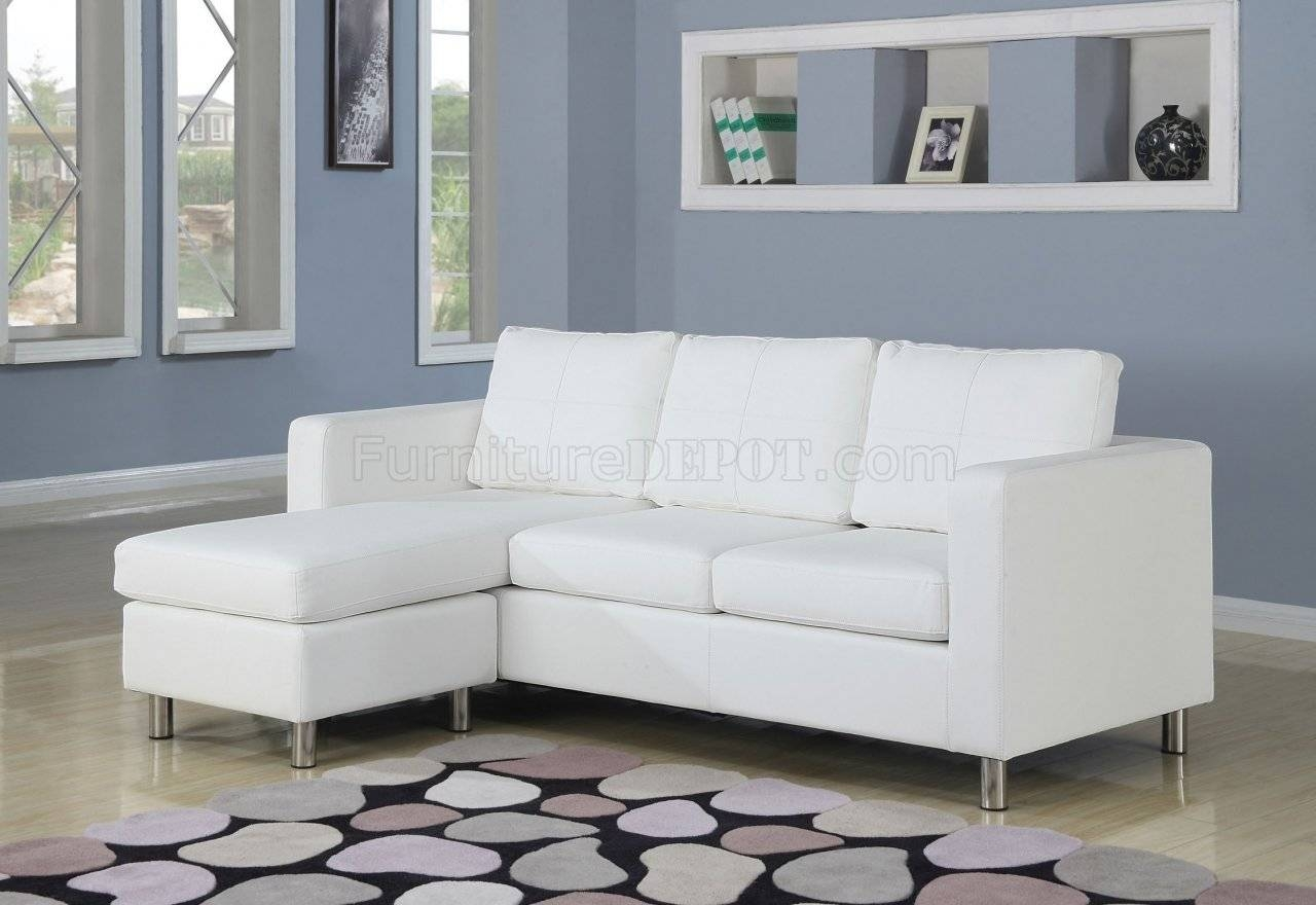 Kemen Sectional In White Vinyl Sofaacme regarding Sleek Sectional Sofa (Image 11 of 25)