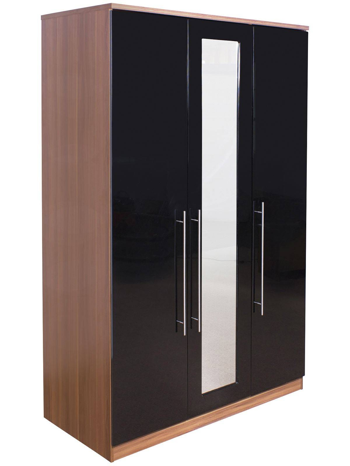 Keswick High Gloss Black & Walnut Bedside Chest Dressing Table for Black High Gloss Wardrobes (Image 9 of 15)