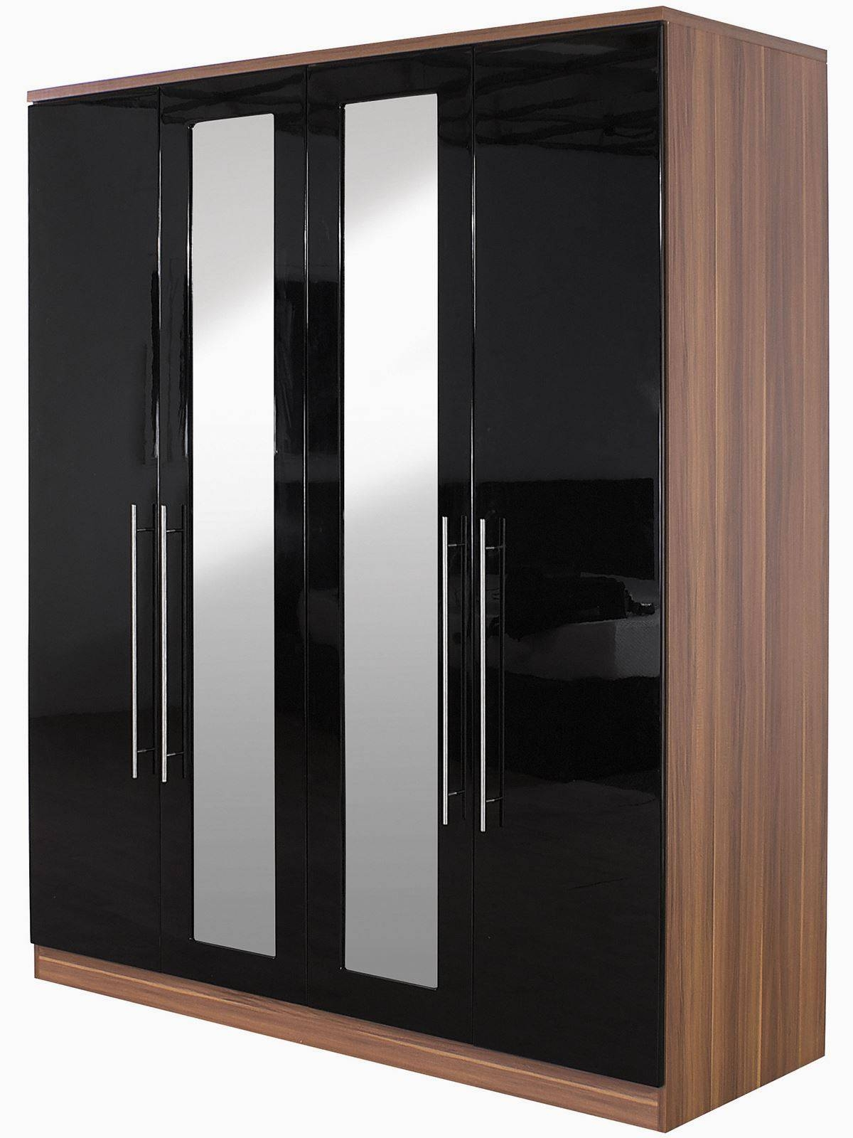 Keswick High Gloss Black & Walnut Bedside Chest Dressing Table intended for Black High Gloss Wardrobes (Image 10 of 15)