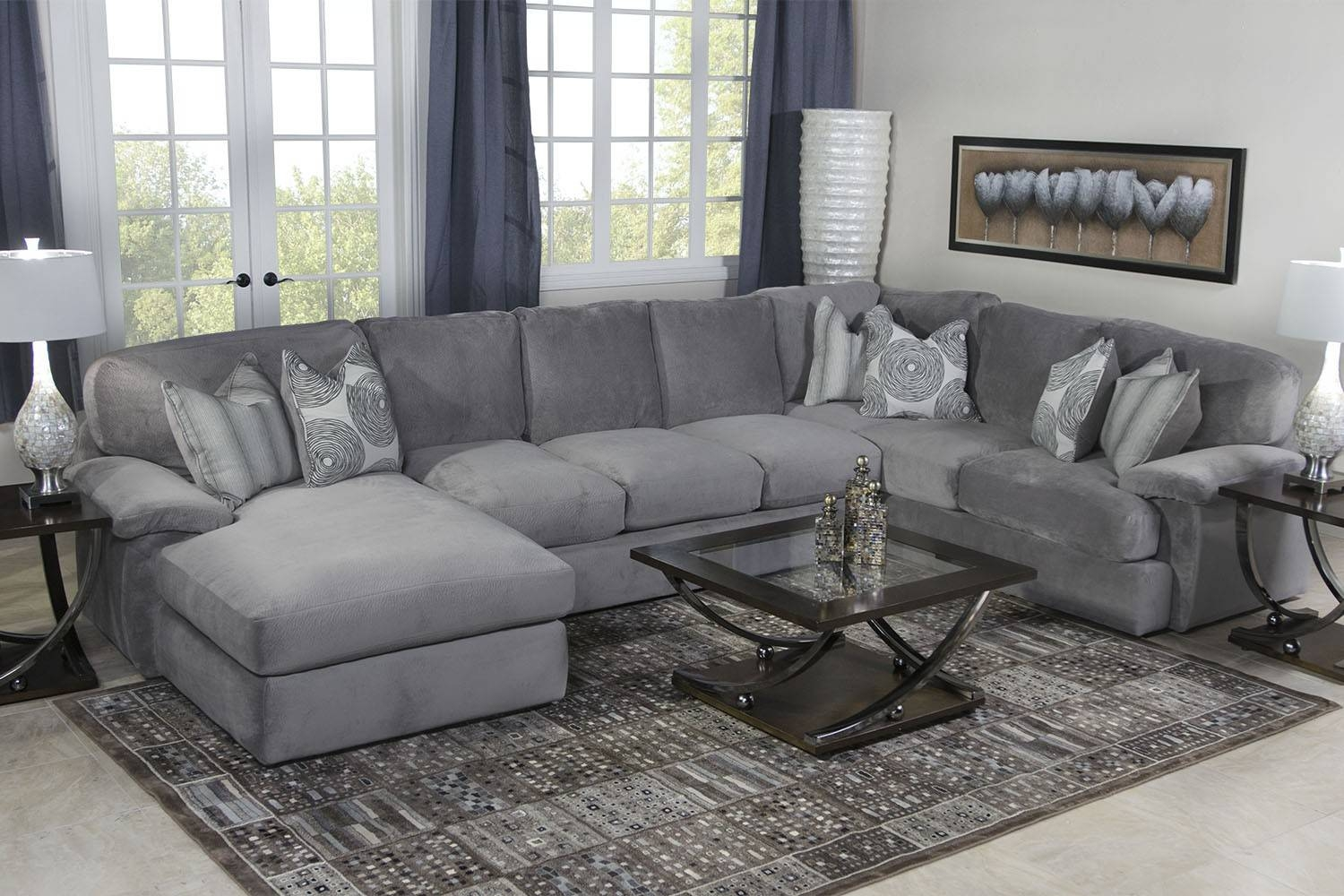 Key West Sectional Living Room In Gray | Mor Furniture For Less for Media Sofa Sectionals (Image 9 of 25)