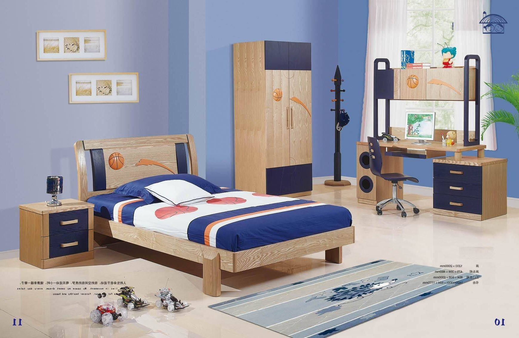 Kids Bedroom Furniture Sets For Boys Combine Wooden Study Desk with Bed And Wardrobes Combination (Image 12 of 15)