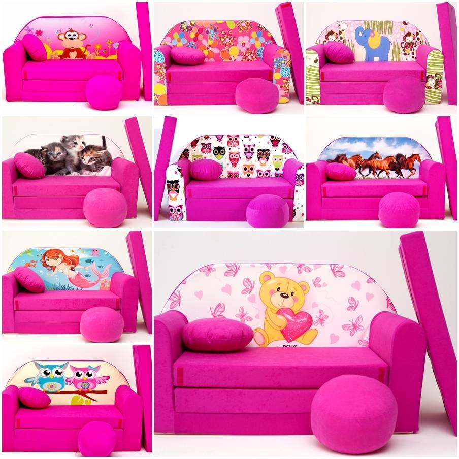 Kids Sofa Bed 168Cm Futon Childs Furniture + Free Pouffe pertaining to Footstool Pouffe Sofa Folding Bed (Image 12 of 25)