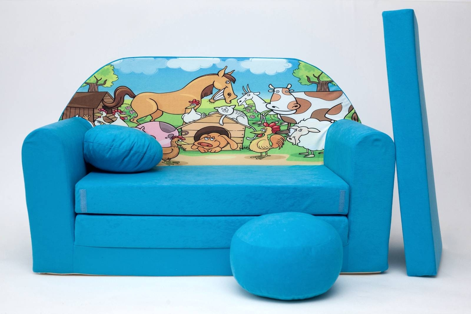 Kids Sofa Bed Childs Furniture + Free Pouffe / Footstool & Pillow with regard to Footstool Pouffe Sofa Folding Bed (Image 14 of 25)