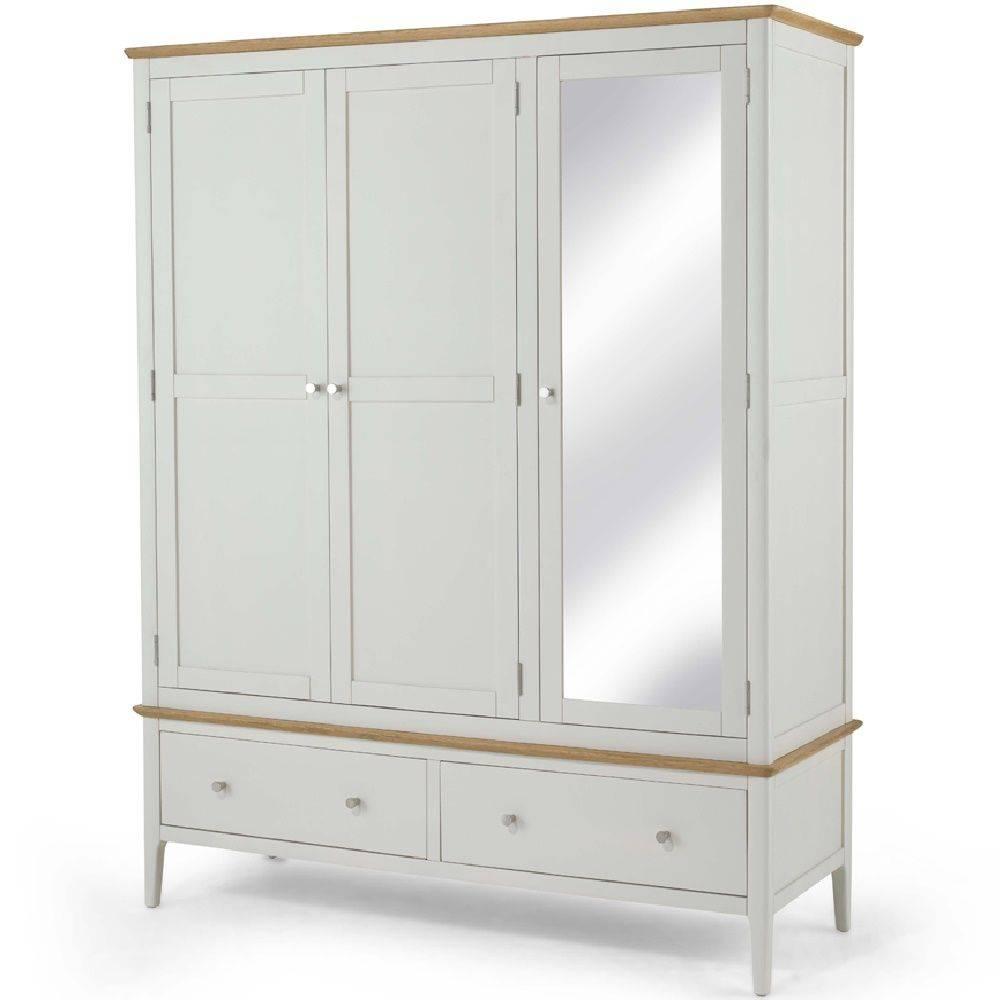 Kingston Painted Triple Mirrored Wardrobe within Triple Mirrored Wardrobes (Image 5 of 15)