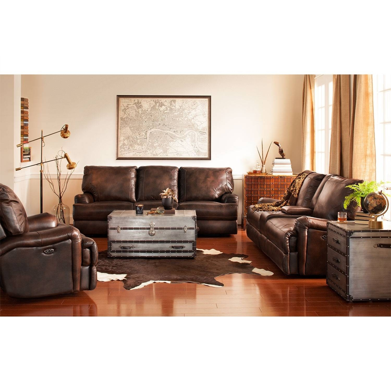 Kingsway Power Reclining Sofa, Loveseat And Recliner Set - Brown within Sofa Loveseat and Chairs (Image 12 of 30)