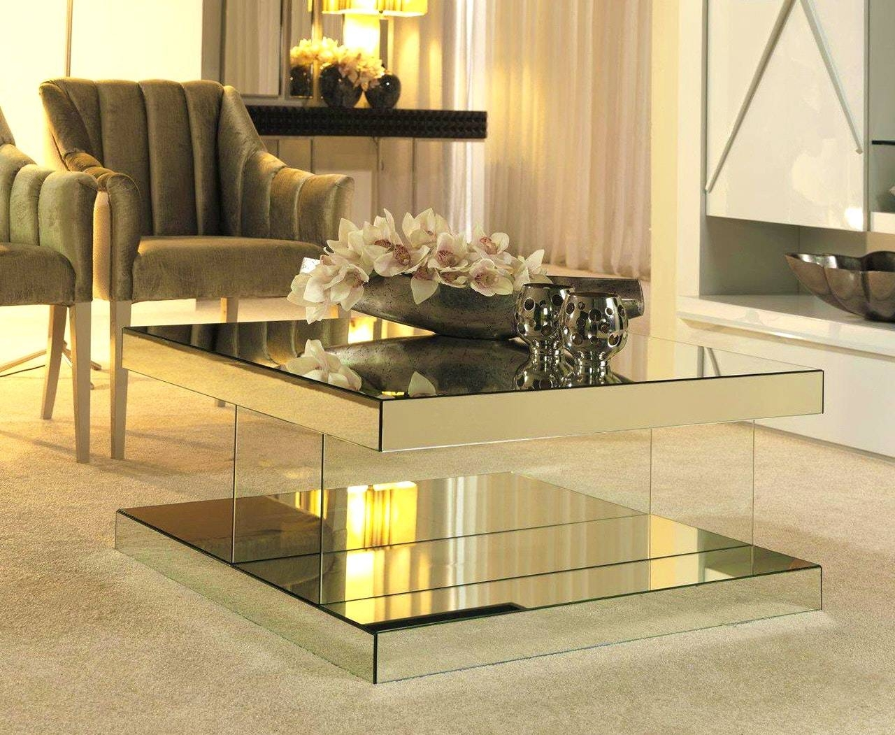 Kitchen : Captivating Mirrored And Glass Coffee Table Tables Gold intended for Round Mirrored Coffee Tables (Image 17 of 30)