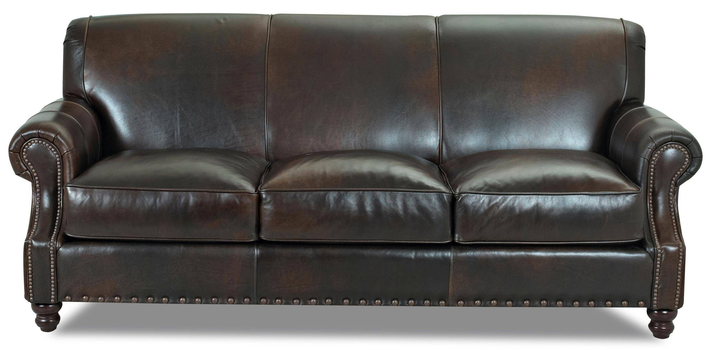 Klaussner Fremont Traditional Leather Stationary Sofa With Nail with Traditional Leather Couch (Image 13 of 30)