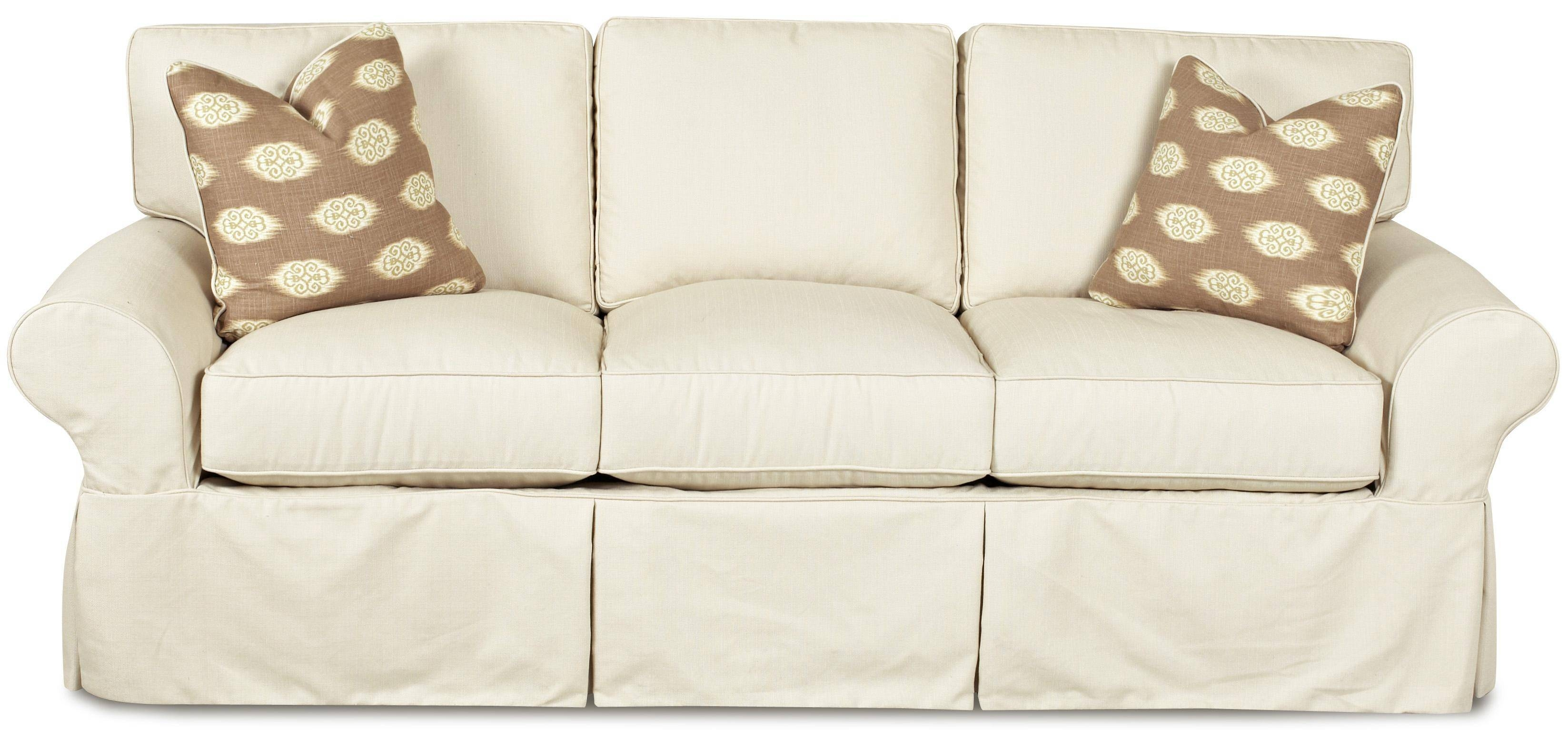 Klaussner Patterns Slipcovered Sofa With Rolled Arms And Tailored With Regard To Slipcovers Sofas (View 17 of 30)