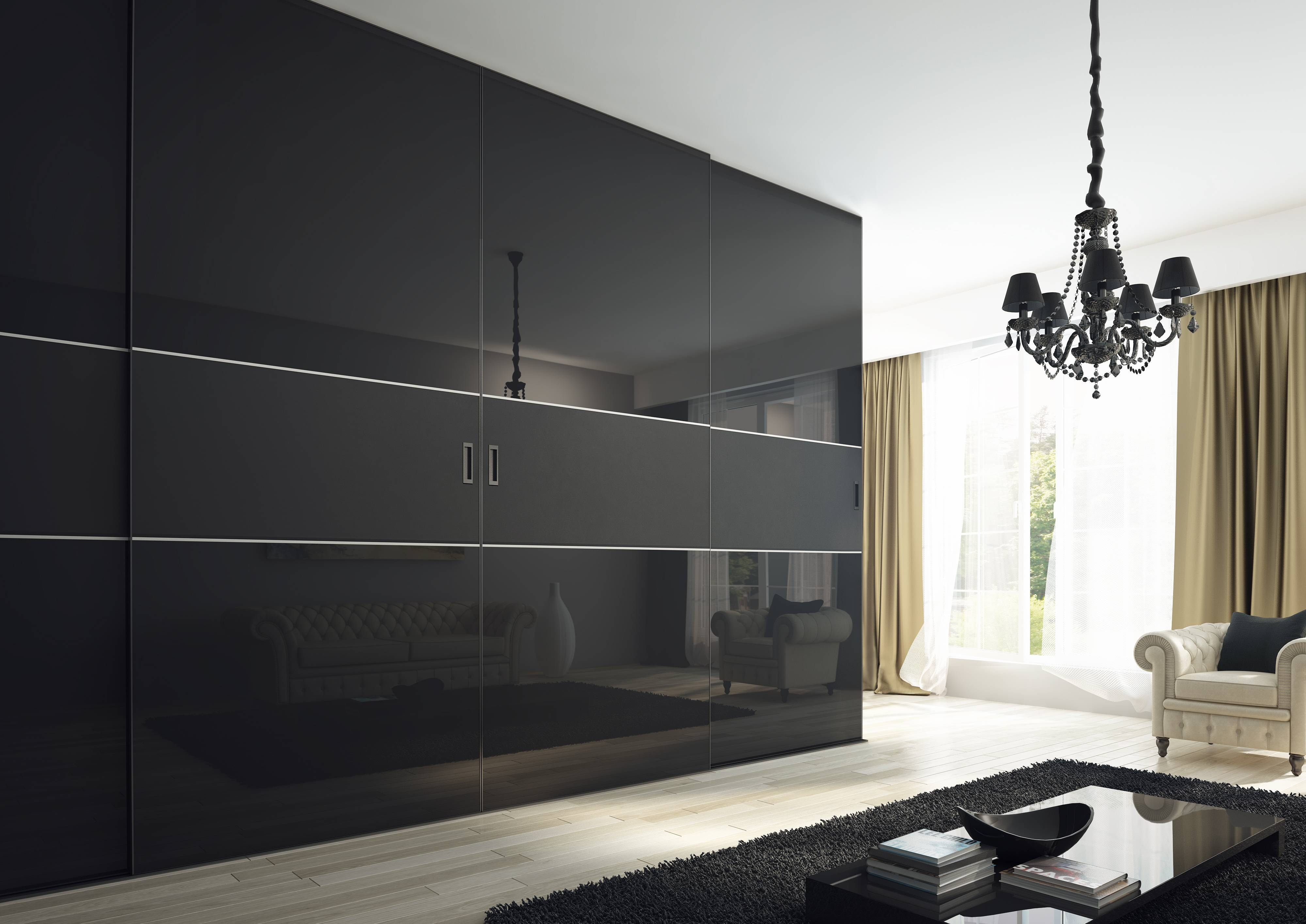 Kleiderhaus Sliding Doors And Fitted Wardrobes London Within 3 Door Black Gloss Wardrobes (View 4 of 15)
