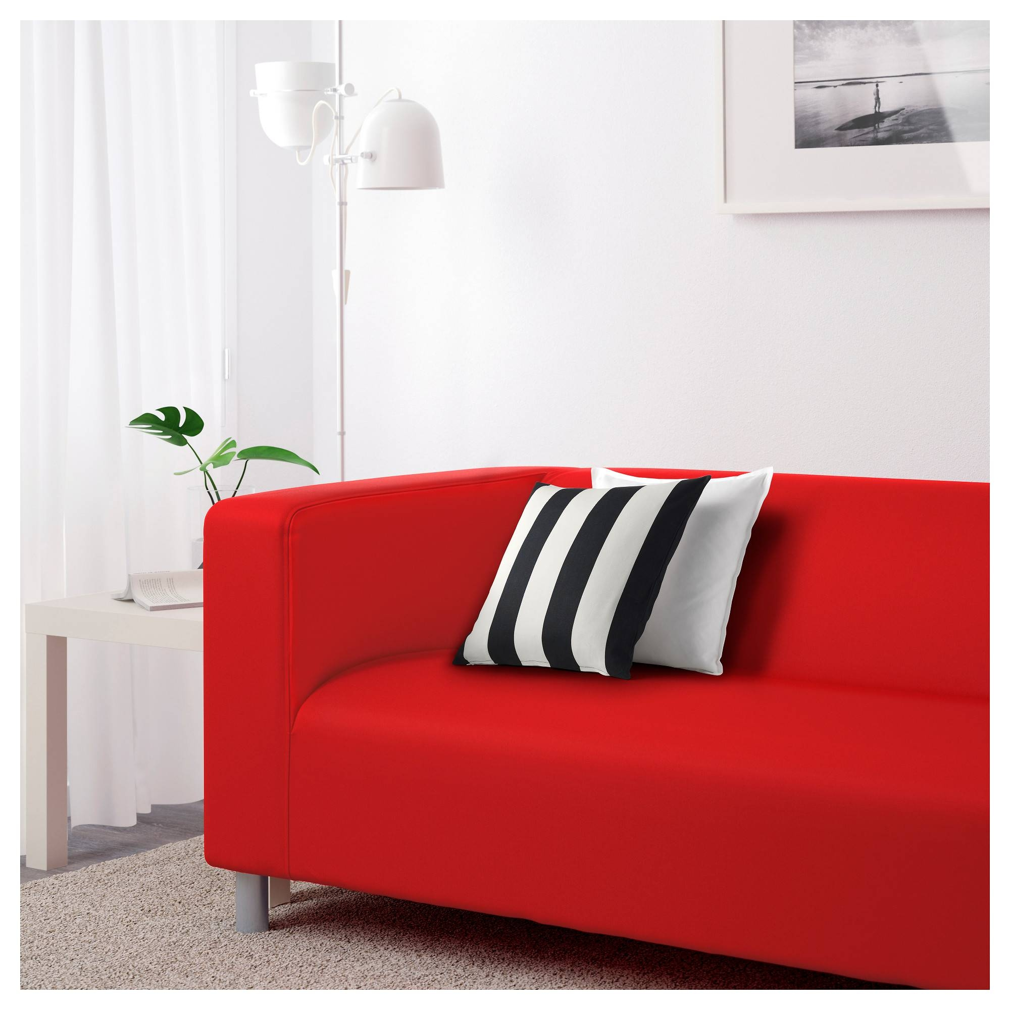 Klippan Two-Seat Sofa Flackarp Red-Orange - Ikea throughout Orange Ikea Sofas (Image 17 of 30)