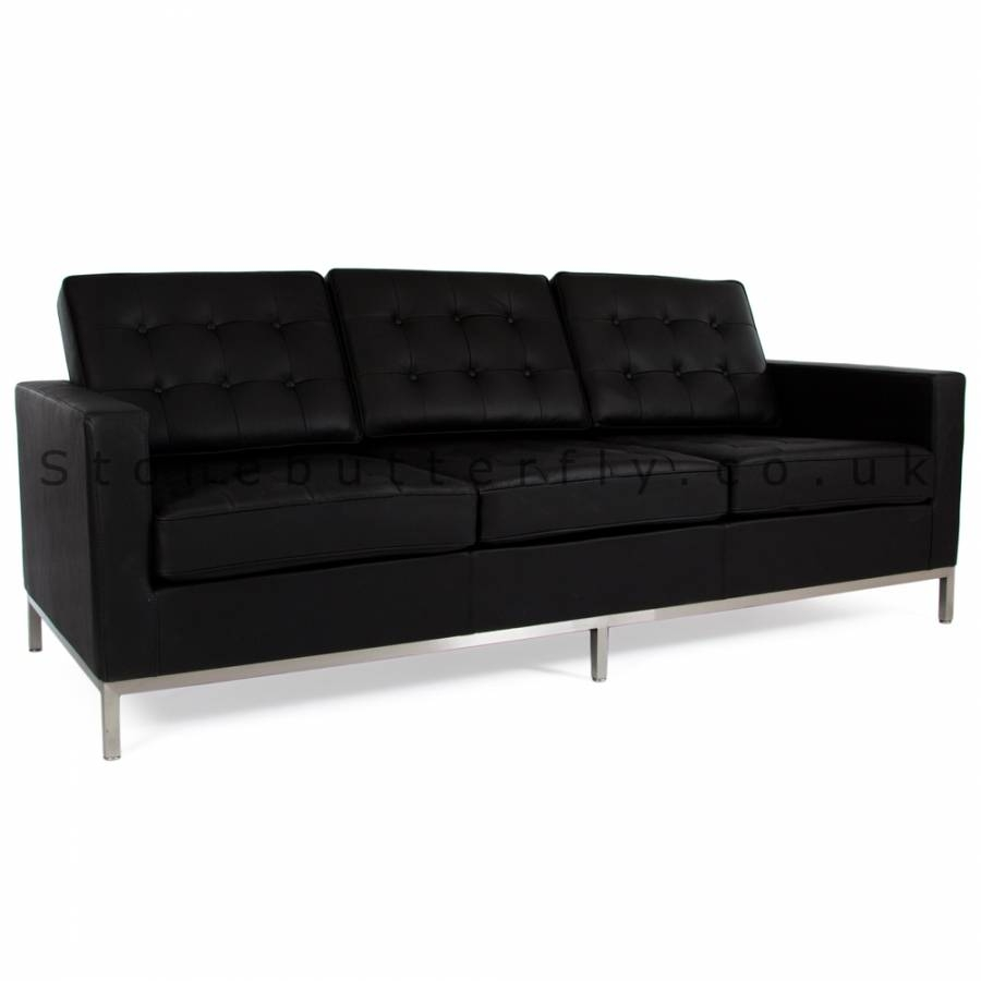 Knoll 3 Seat Sofa, Florence Knoll Inspired - Black Leather throughout Florence Knoll 3 Seater Sofas (Image 25 of 30)