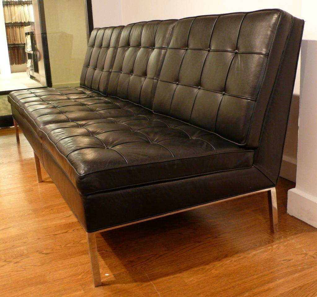 Knoll Armless Sofa In Original Black Leather At 1Stdibs within Florence Leather Sofas (Image 22 of 30)