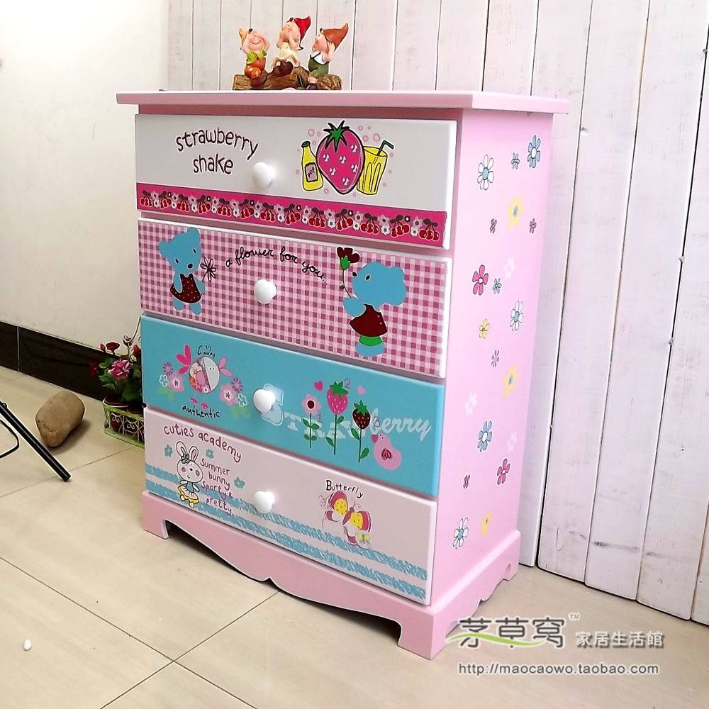 Korean Cartoon Wooden 4 Drawers / Child Wardrobe / Cupboard Inside Cheap Baby Wardrobes (View 24 of 30)