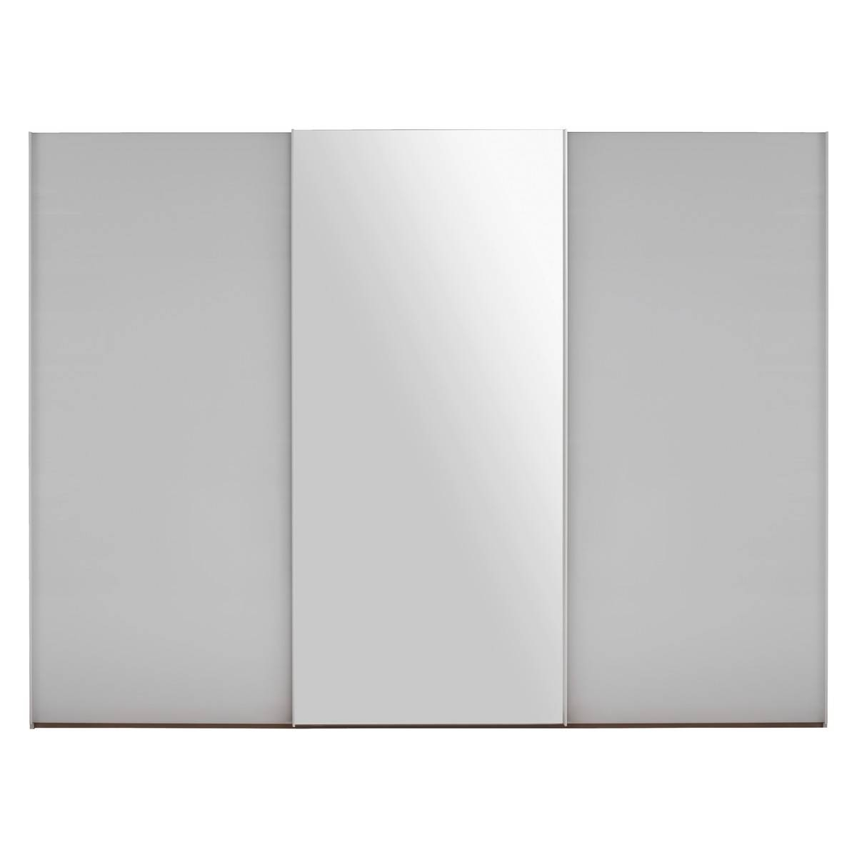 Kripton Mirrored And White Glass 3 Door Sliding Wardrobe W240 X inside 3 Door White Wardrobes (Image 11 of 30)