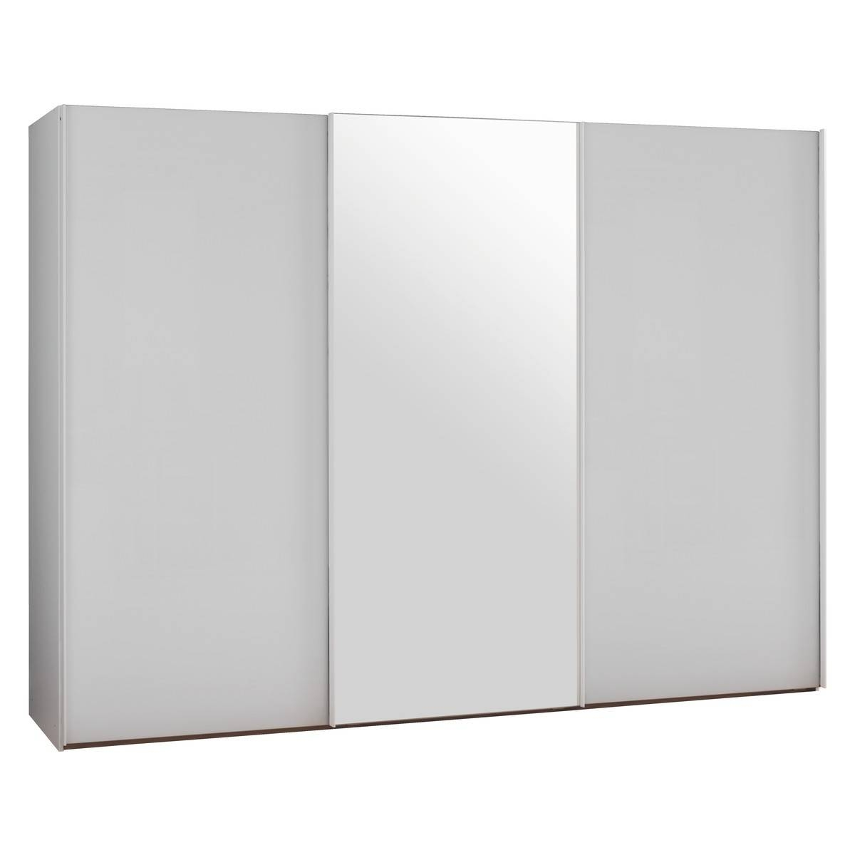 Kripton Mirrored And White Glass 3 Door Sliding Wardrobe W240 X pertaining to White Gloss Sliding Wardrobes (Image 4 of 15)