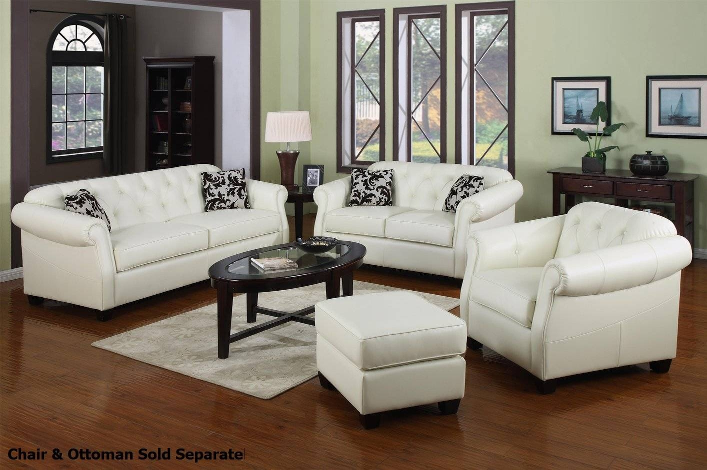 Kristyna White Leather Sofa And Loveseat Set - Steal-A-Sofa pertaining to Off White Leather Sofa and Loveseat (Image 5 of 30)