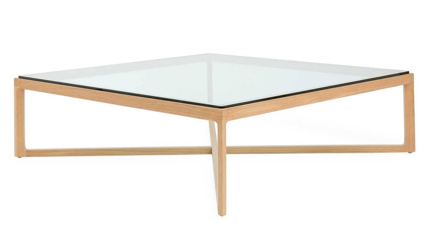 Krusin Coffee Table Natural Oak Clear Glass within Oak and Glass Coffee Tables (Image 18 of 30)
