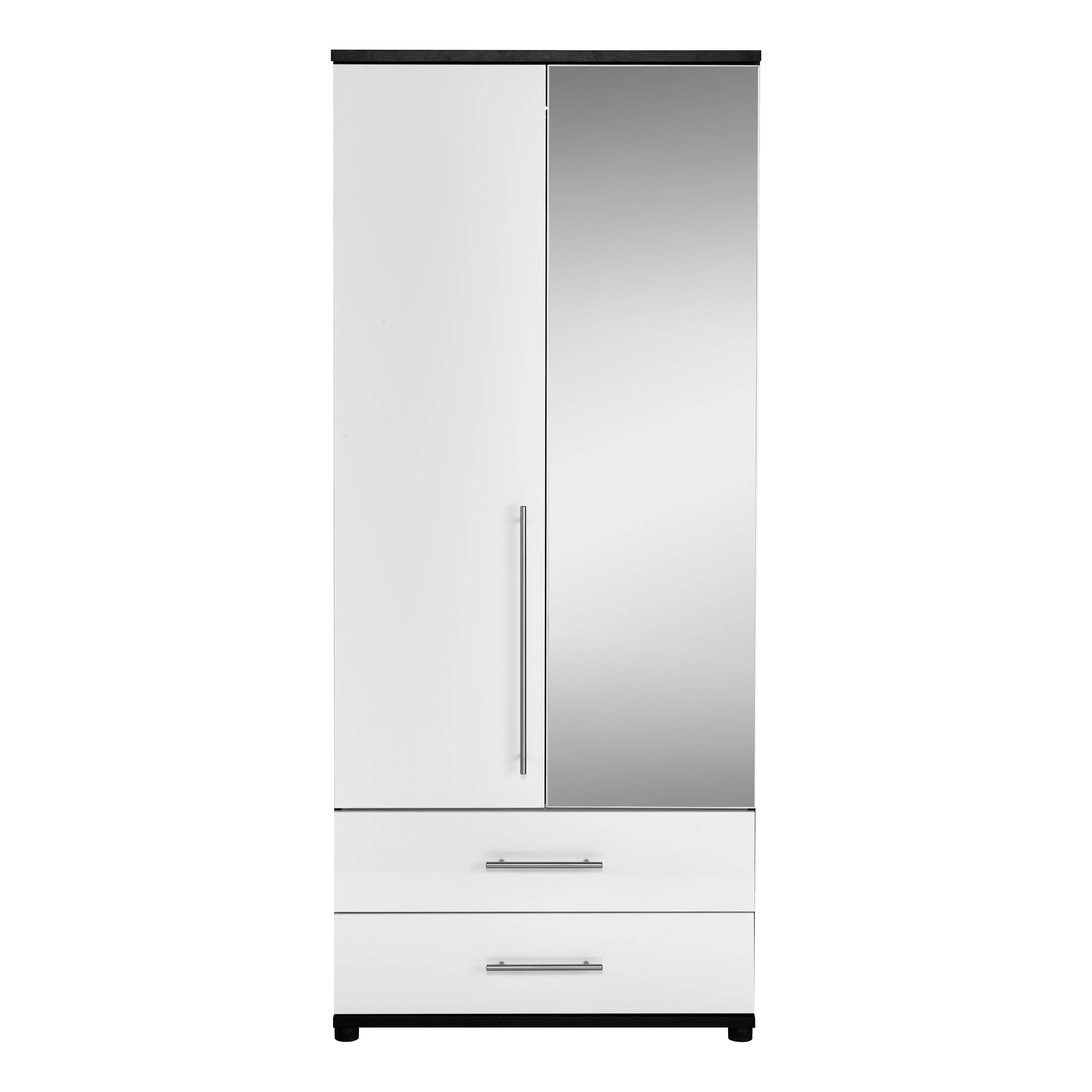 Kt Gloss 2 Door 2 Drawer Mirrored Wardrobe | Contemporary Bedroom throughout White 2 Door Wardrobes With Drawers (Image 6 of 15)