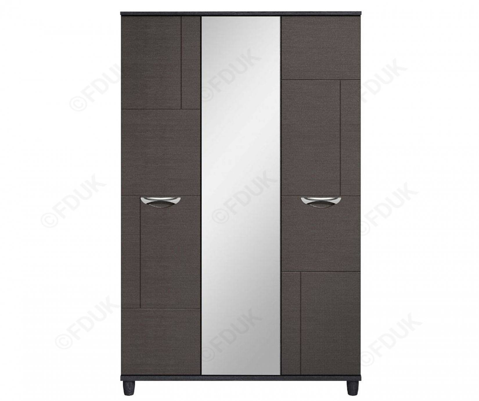 Kt Moda | Graphite And Black 3 Door Mirrored Wardrobe pertaining to Black 3 Door Wardrobes (Image 12 of 15)