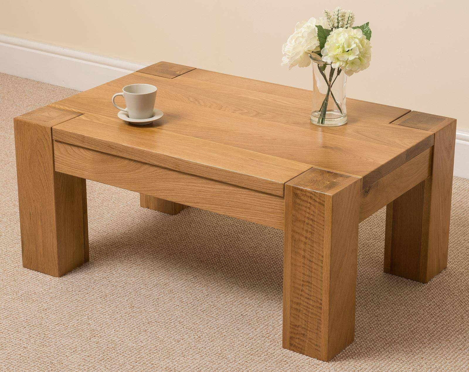 Kuba Solid Oak Coffee Table | Oak Furniture King pertaining to Chunky Oak Coffee Tables (Image 23 of 30)