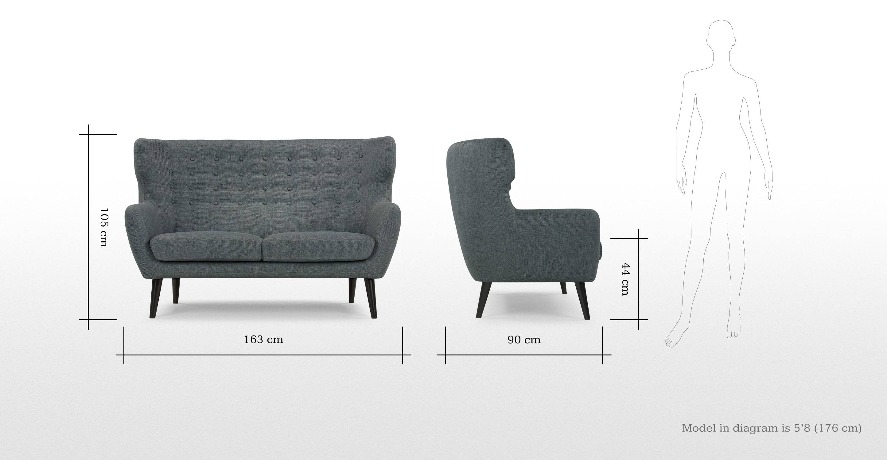 Kubrick 2 Seater Sofa In Anthracite Grey | Made with Small 2 Seater Sofas (Image 8 of 30)