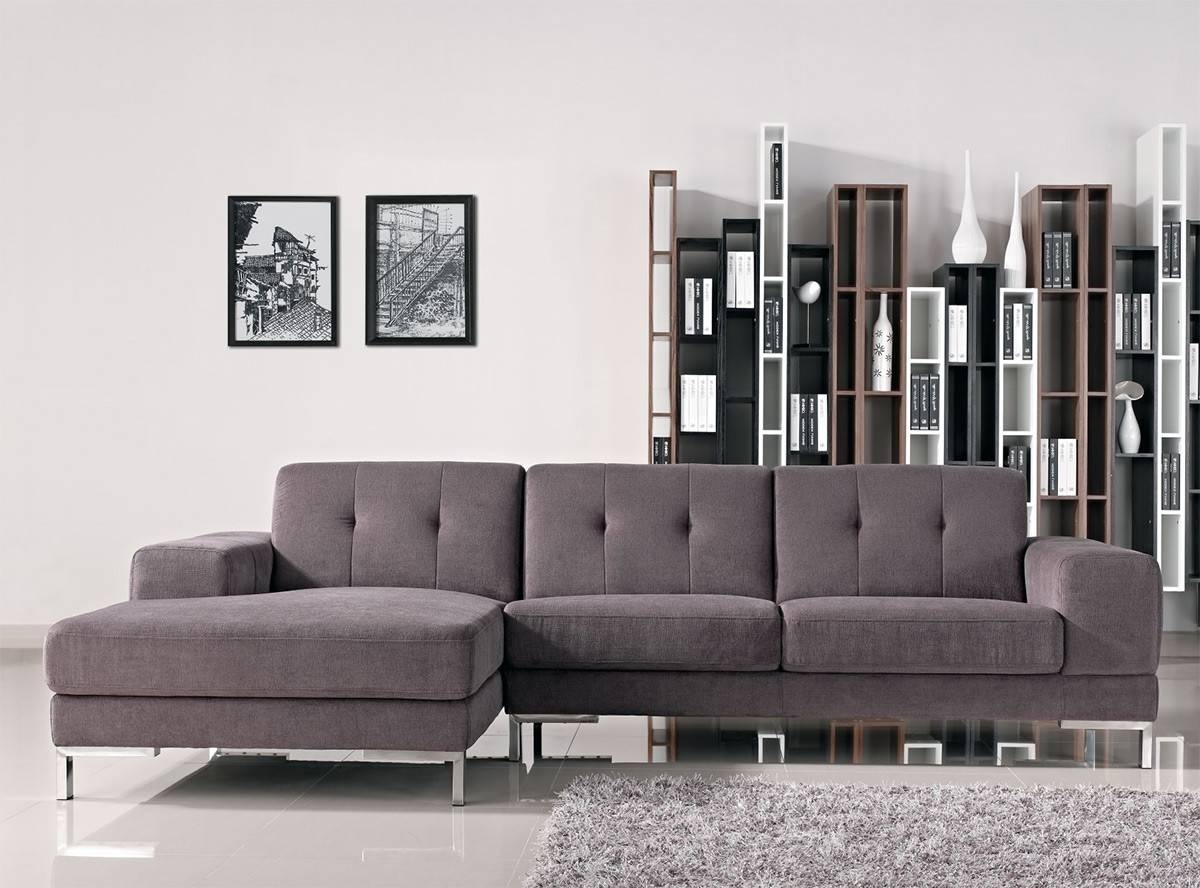L Shape Gray Fabric Sectional Sofa intended for L Shaped Fabric Sofas (Image 11 of 30)