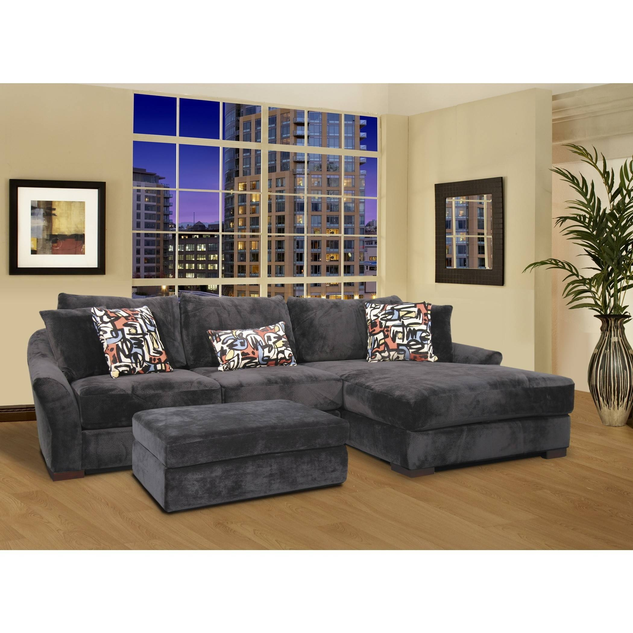 L Shape Gray Velvet Sectional Sleeper Sofa With Left Chaise Lounge with L Shaped Sectional Sleeper Sofa (Image 15 of 25)